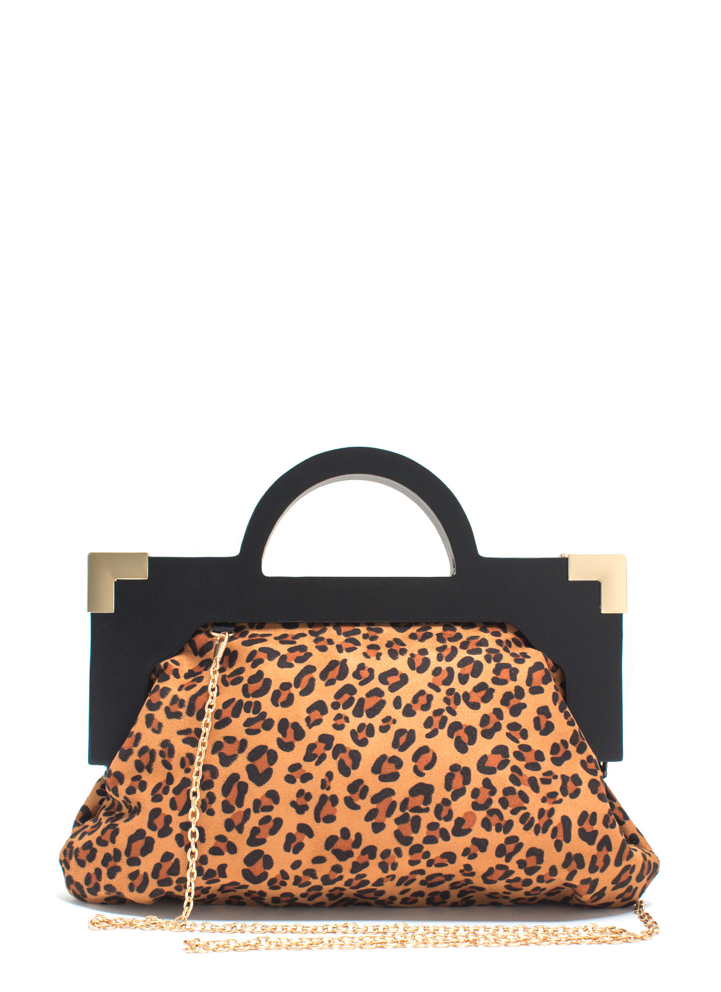Cat Lady Faux Suede Leopard Clutch CAMEL