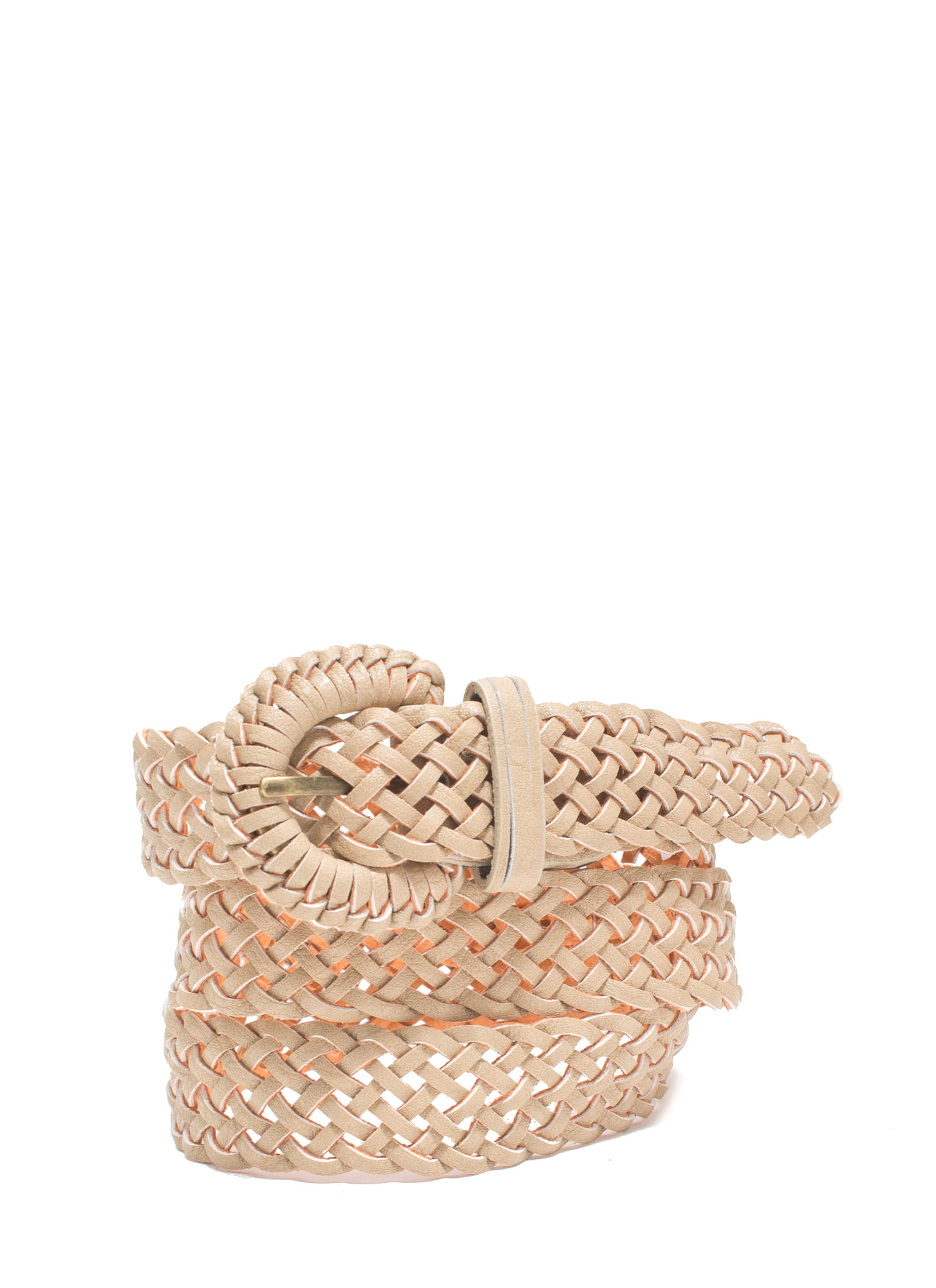Braided Babe Faux Leather Belt TAUPE