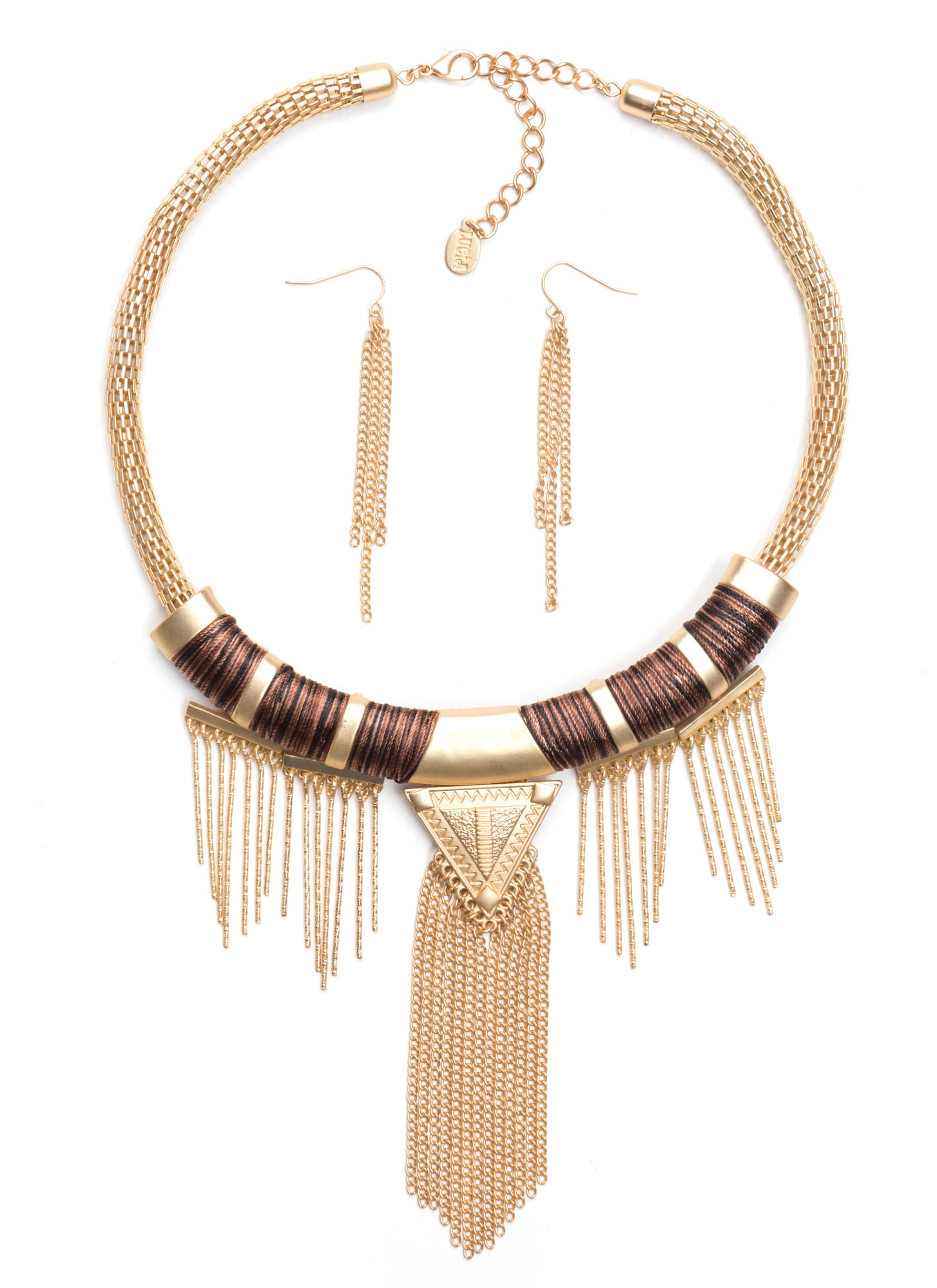 Wrapped Fringe Tribal Necklace Set GOLDBROWN