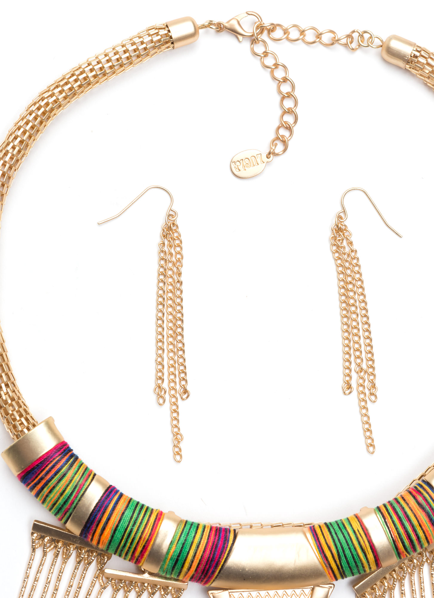 Wrapped Fringe Tribal Necklace Set GOLDMULTI