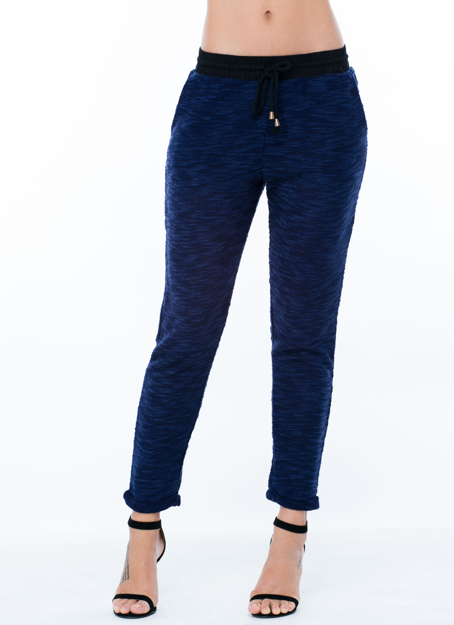 Marled Sweater Jogger Pants NAVY