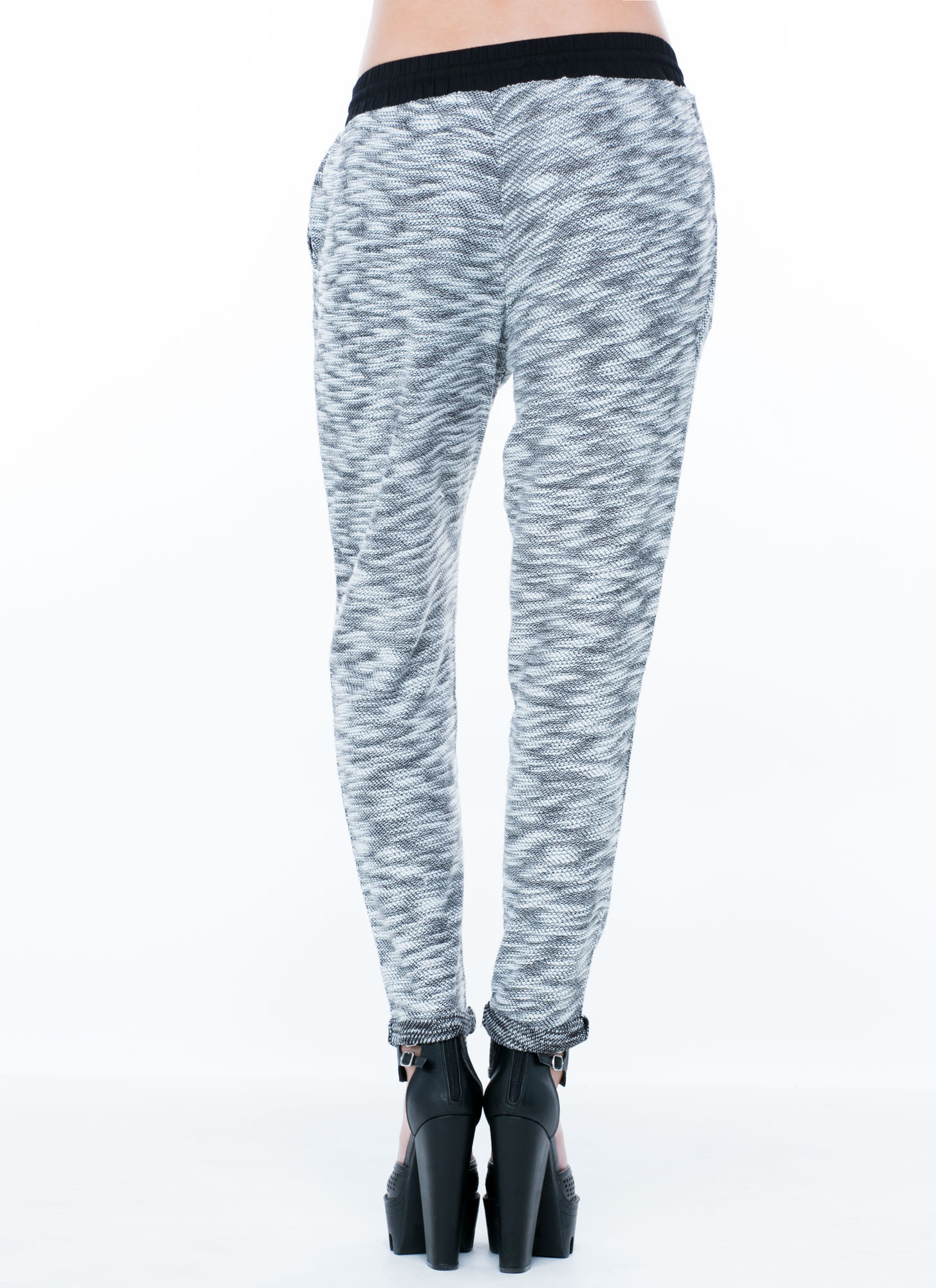 Marled Sweater Jogger Pants WHITE