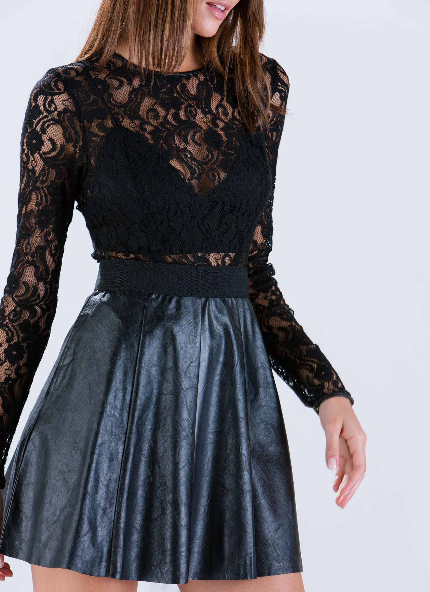 Lace To The Top Faux Leather Dress BLACK