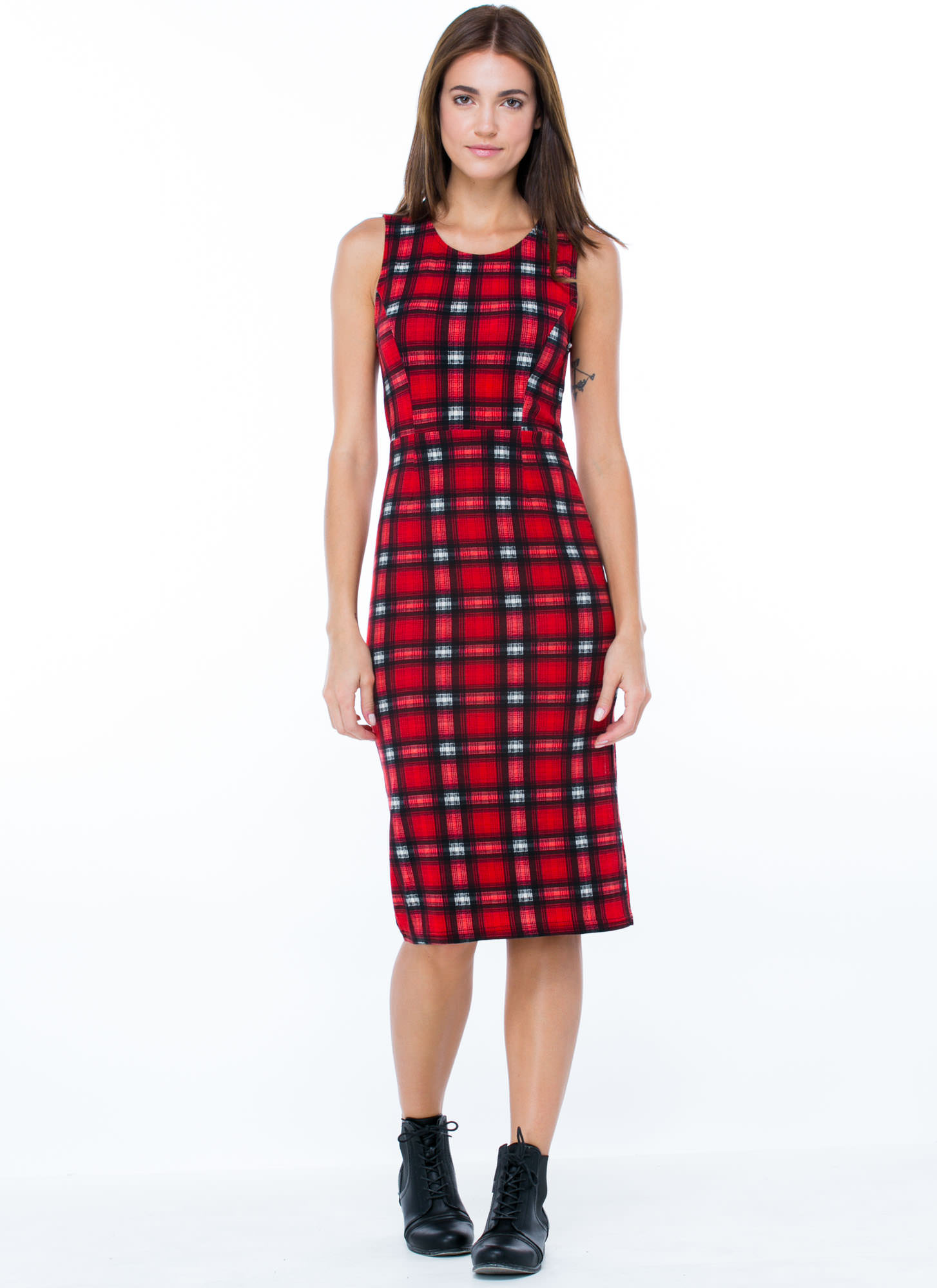 Mad 4 Plaid Midi Dress RED