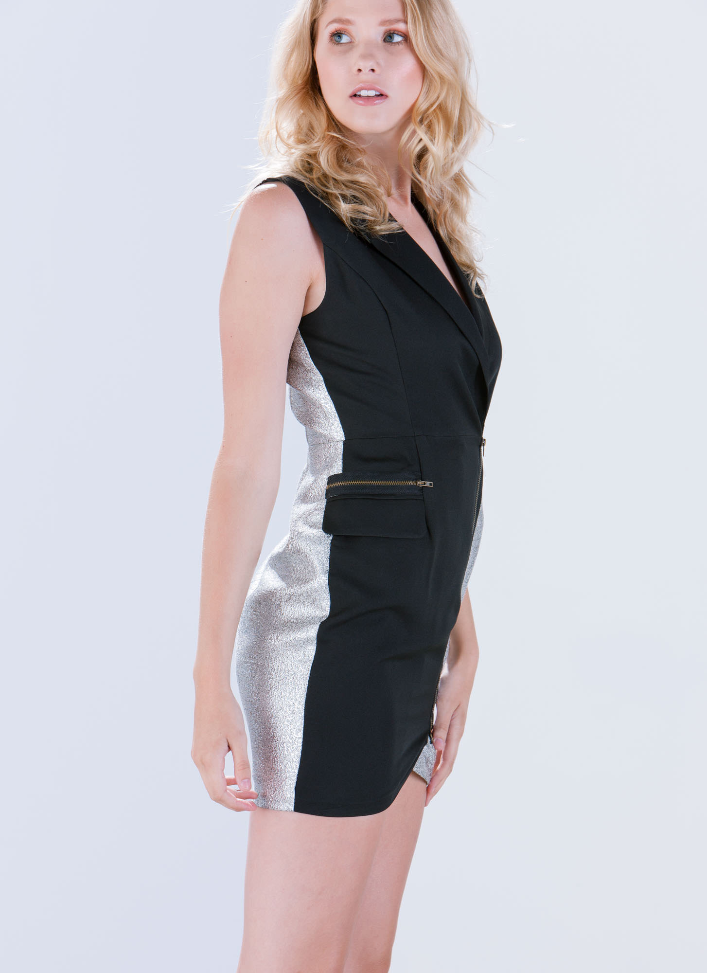 Zipped In Sparkle Tuxedo Dress BLACK