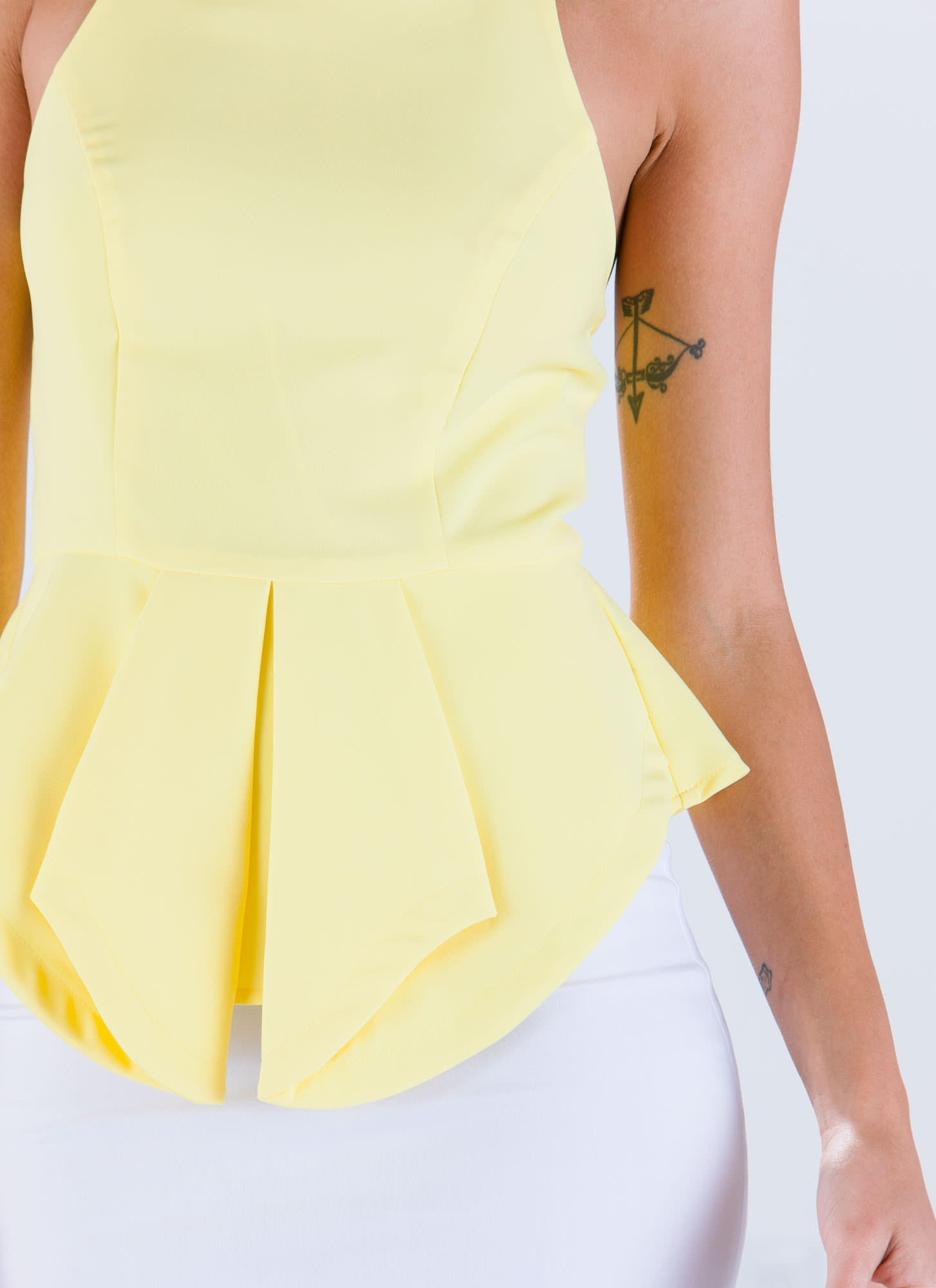 Pleats 'N Thank You Peplum Halter Tank YELLOW