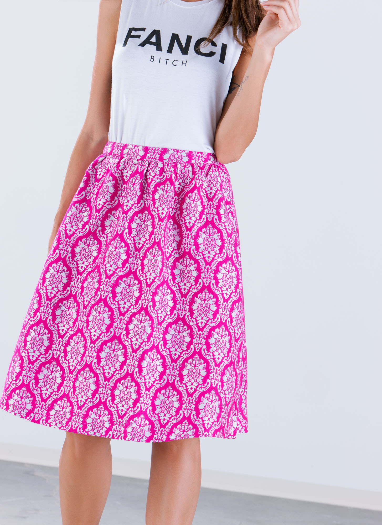 Damask Me A Question A-Line Midi Skirt FUCHSIA