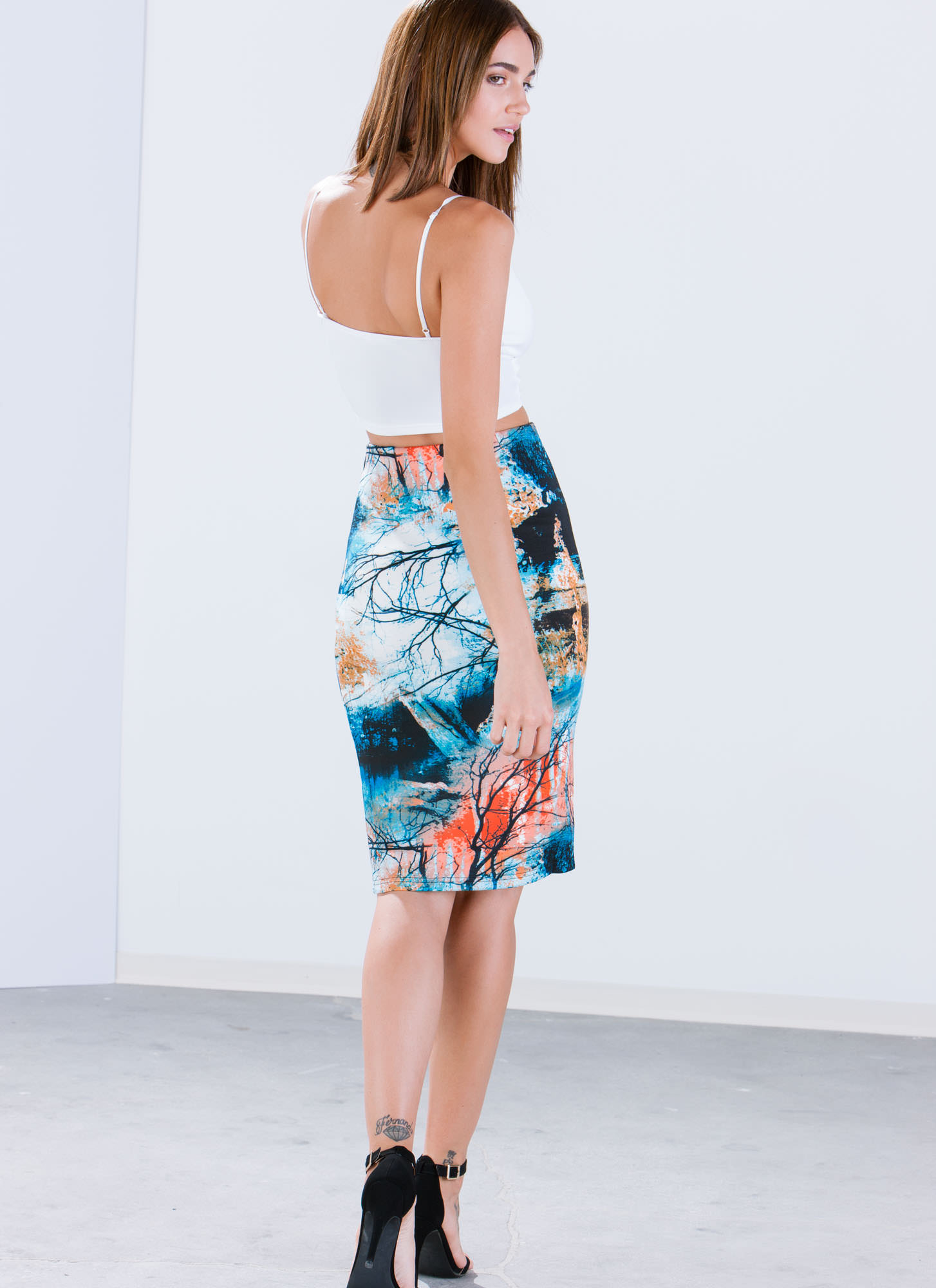Time 2 Branch Out Pencil Skirt BLUE