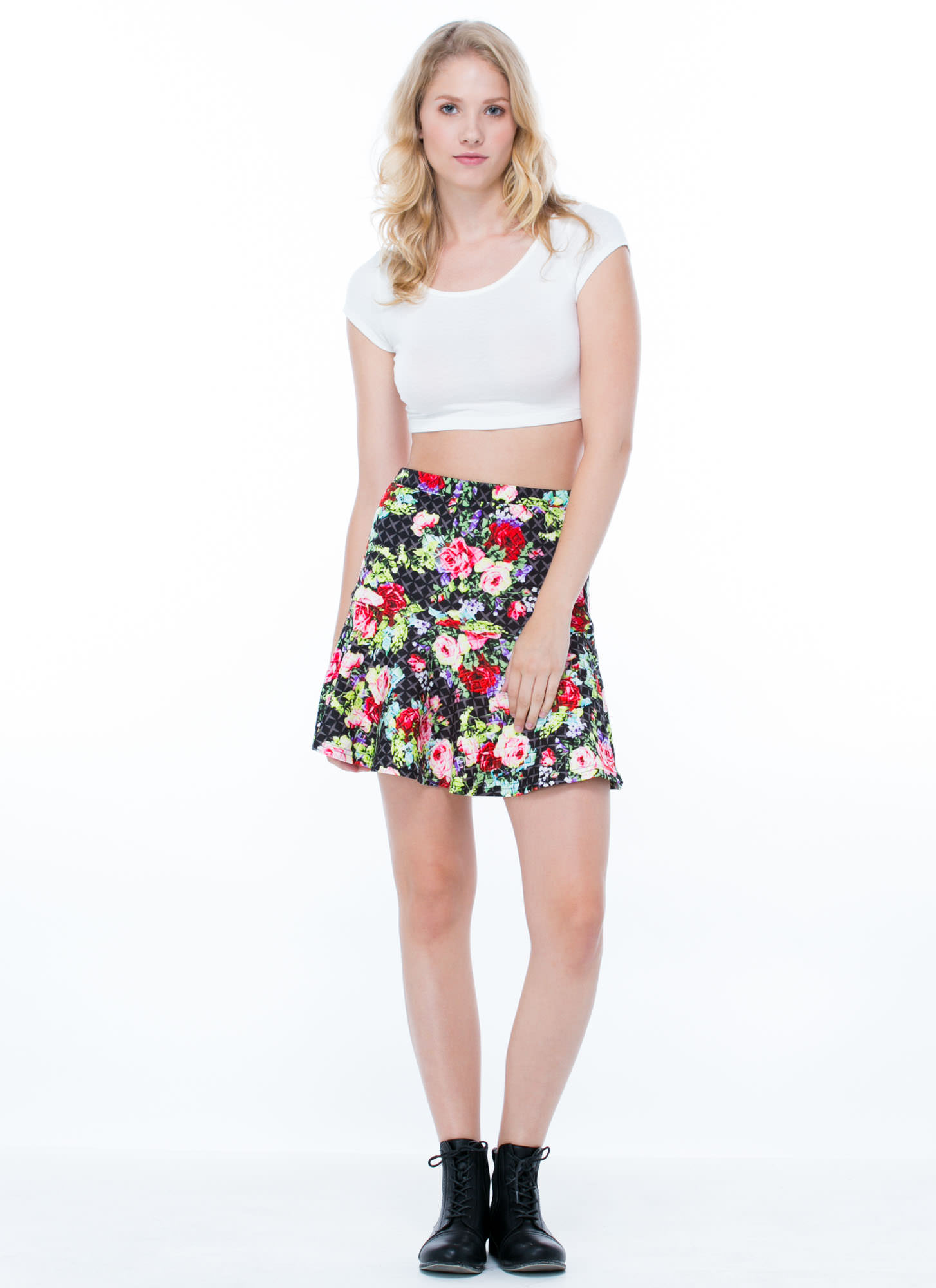 Rosy Disposition Peplum Skirt BLACK