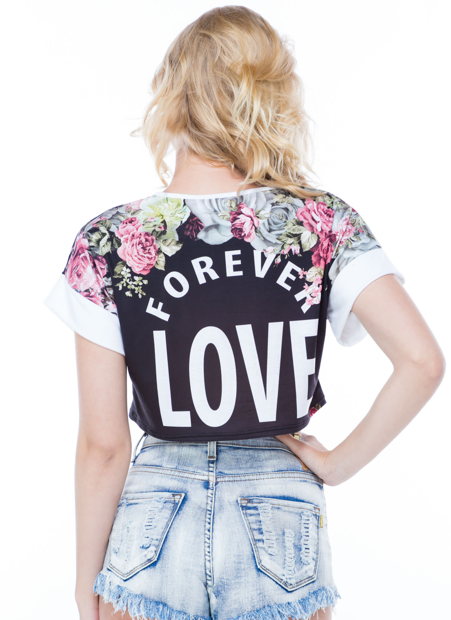 Forever Love Floral Cropped Tee BLACK