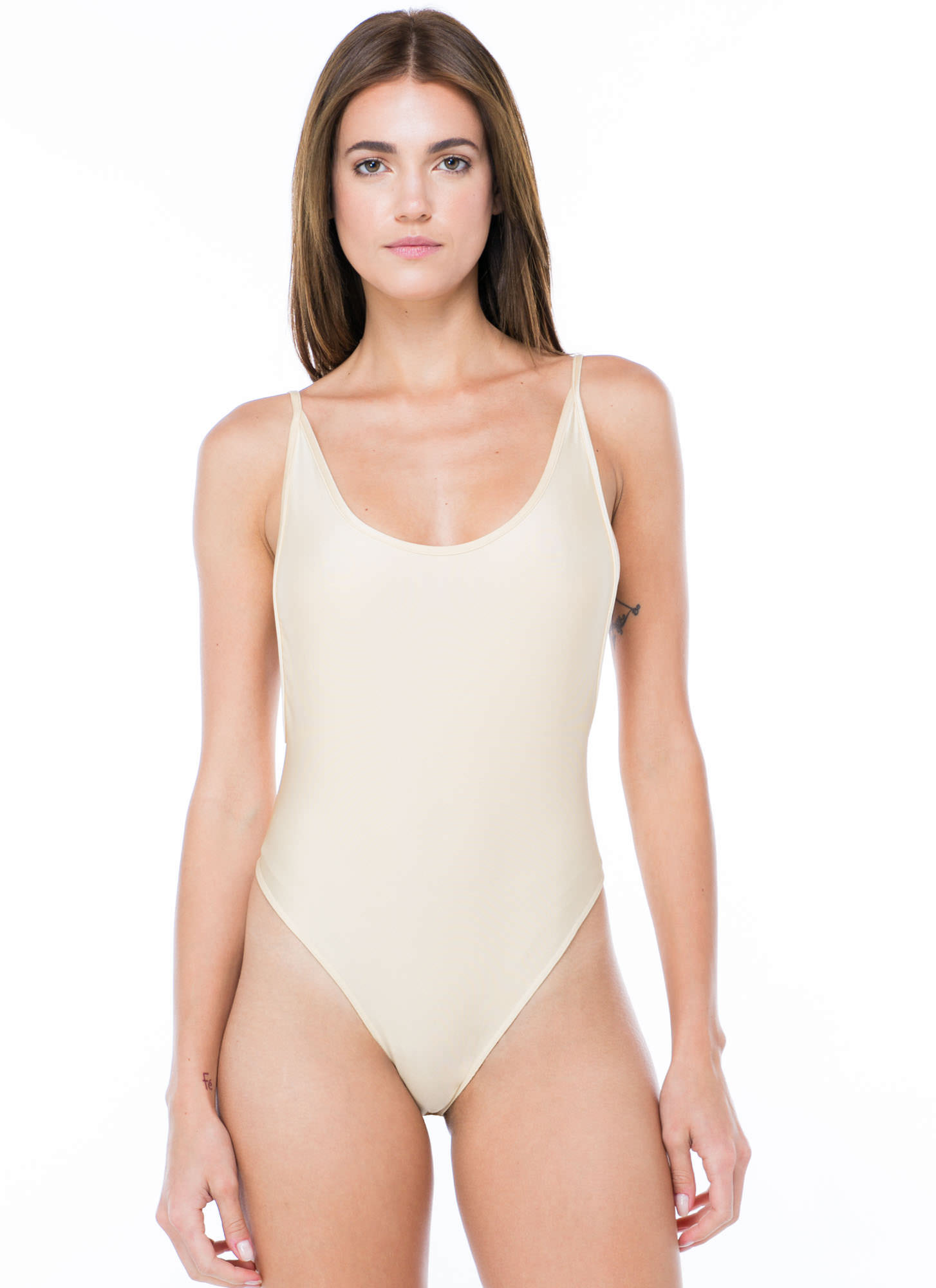 Sheen Queen Nylon Muscle Bodysuit BEIGE