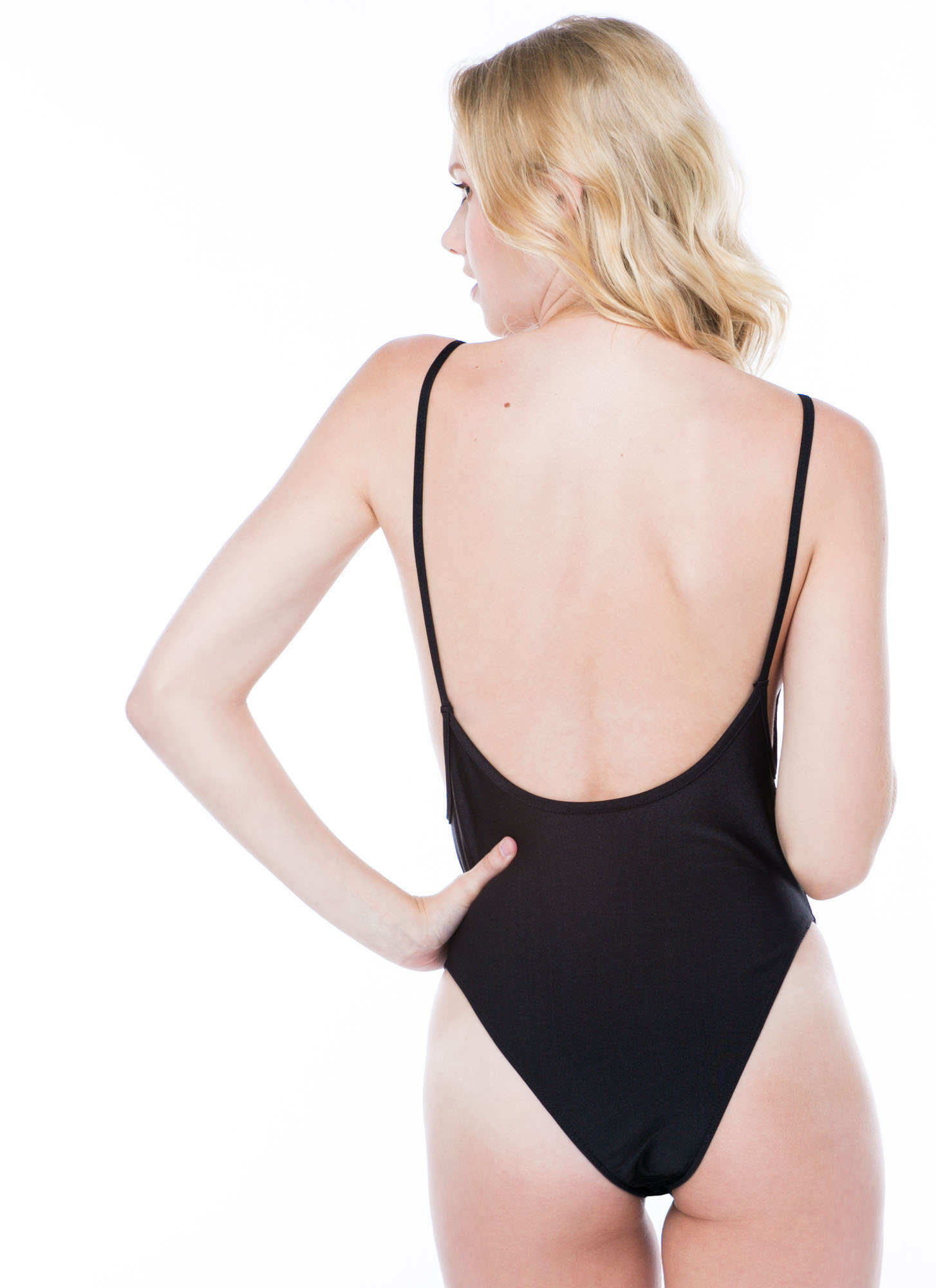 Sheen Queen Nylon Muscle Bodysuit BLACK