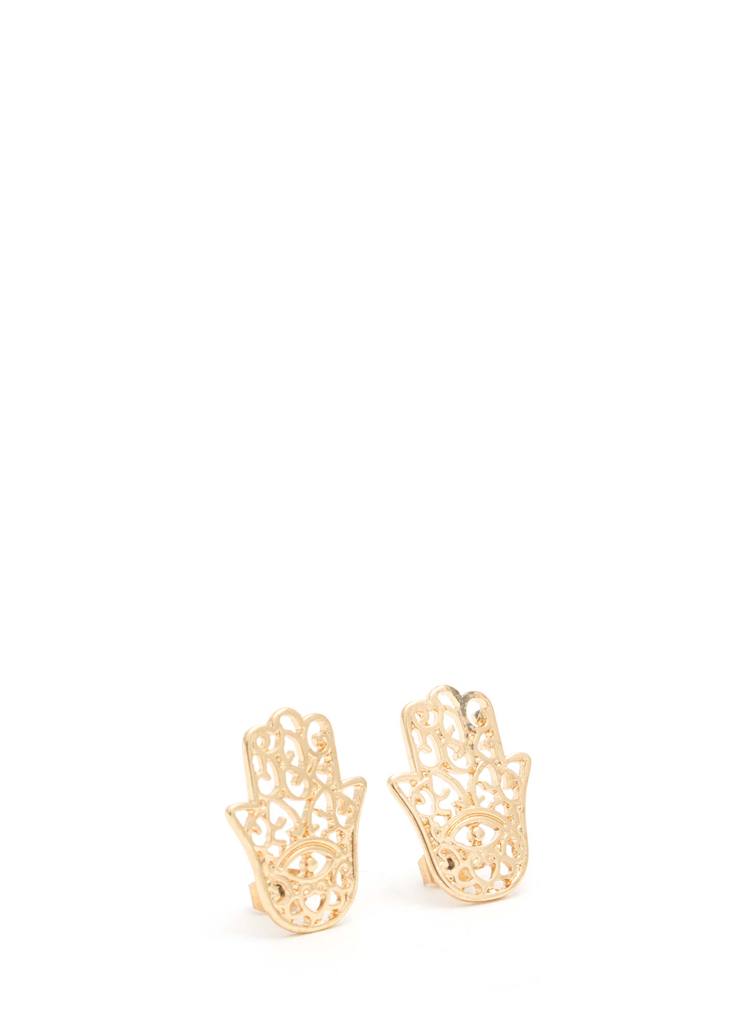 Use Protection Cut-Out Hamsa Earrings GOLD