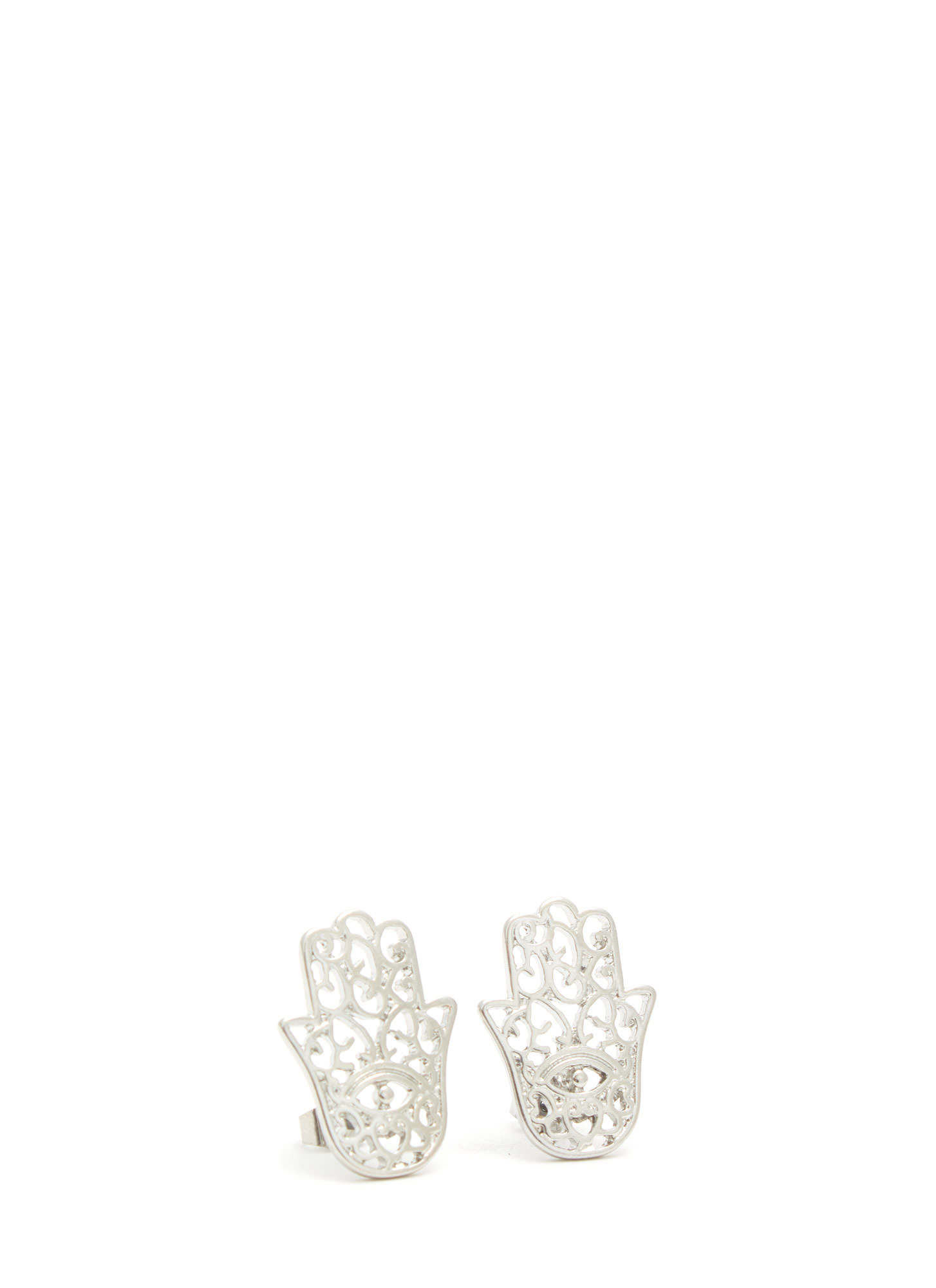 Use Protection Cut-Out Hamsa Earrings SILVER