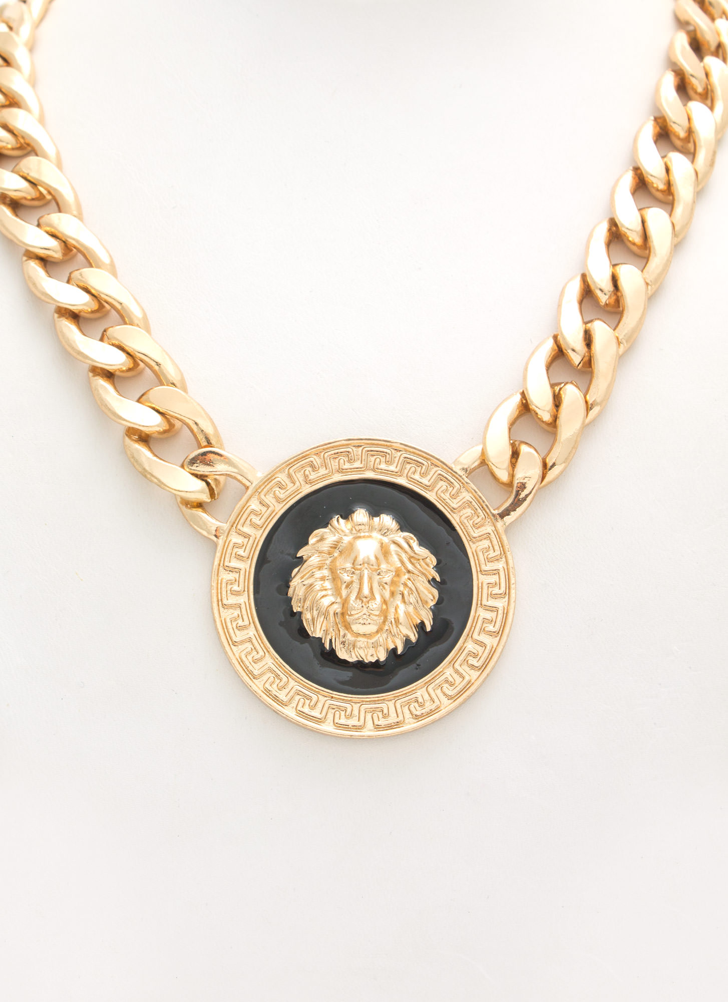 Lion Medallion Necklace Set GOLDBLACK