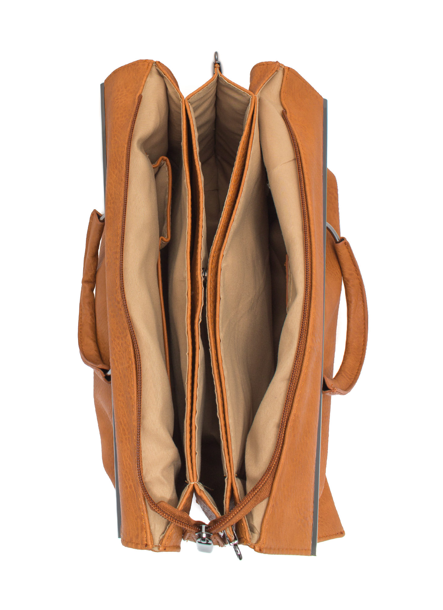 Layered Edges Briefcase Bag CAMEL