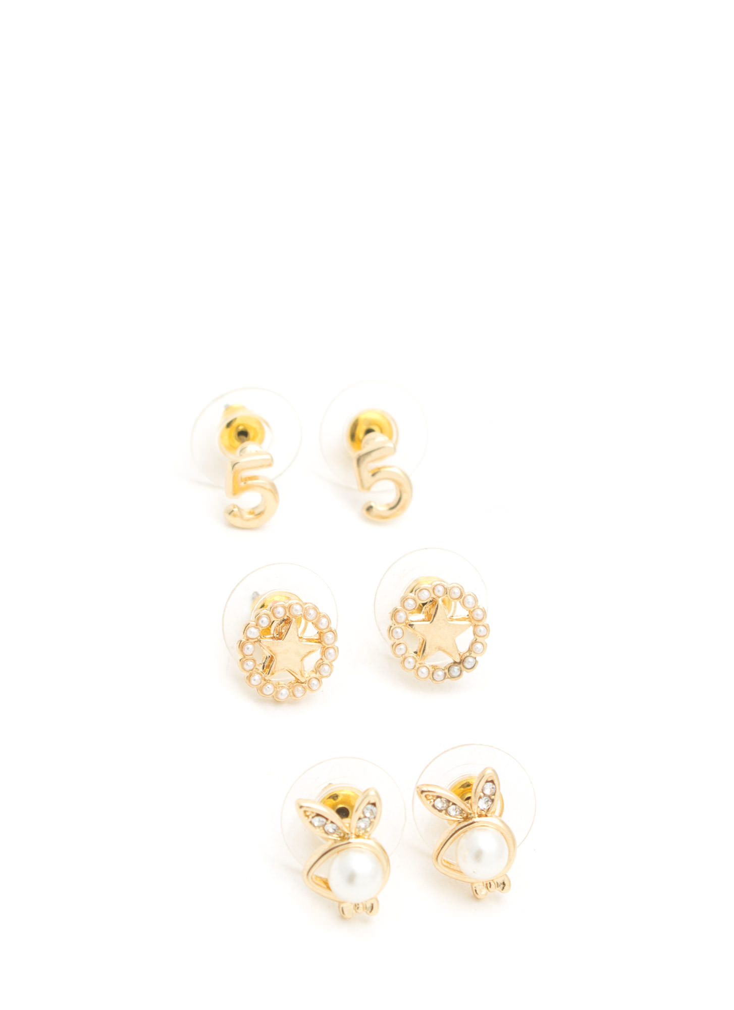 Lucky Charm Earring Set GOLD