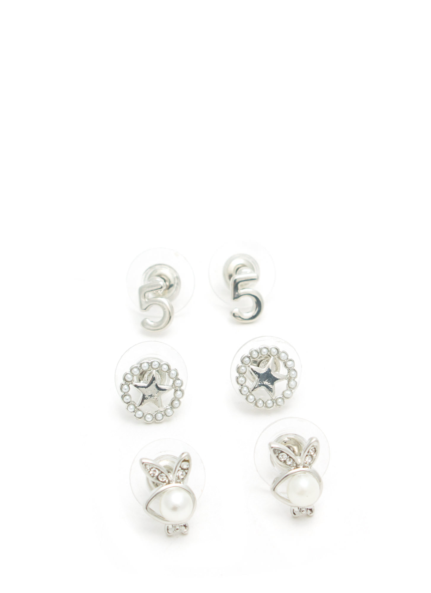 Lucky Charm Earring Set SILVER