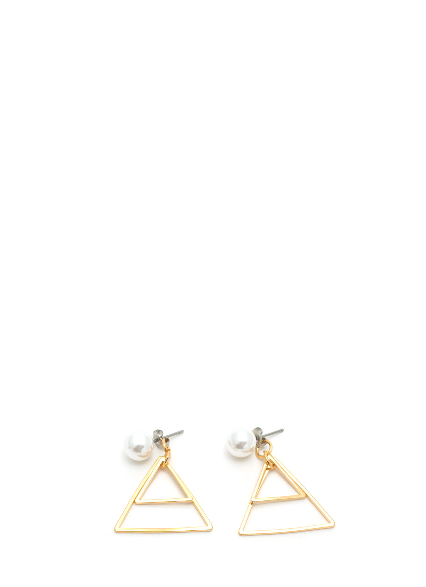Play The Triangles Faux Pearl Earrings IVORYGOLD