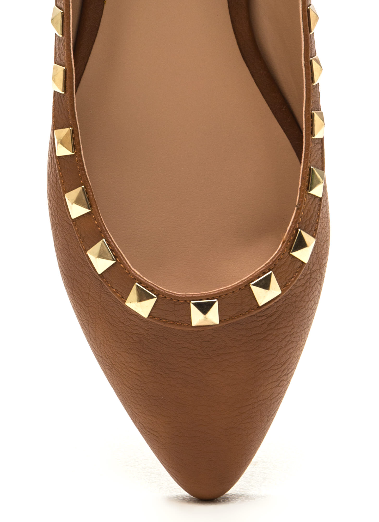 Studying Pyramids Faux Leather Flats WHISKY