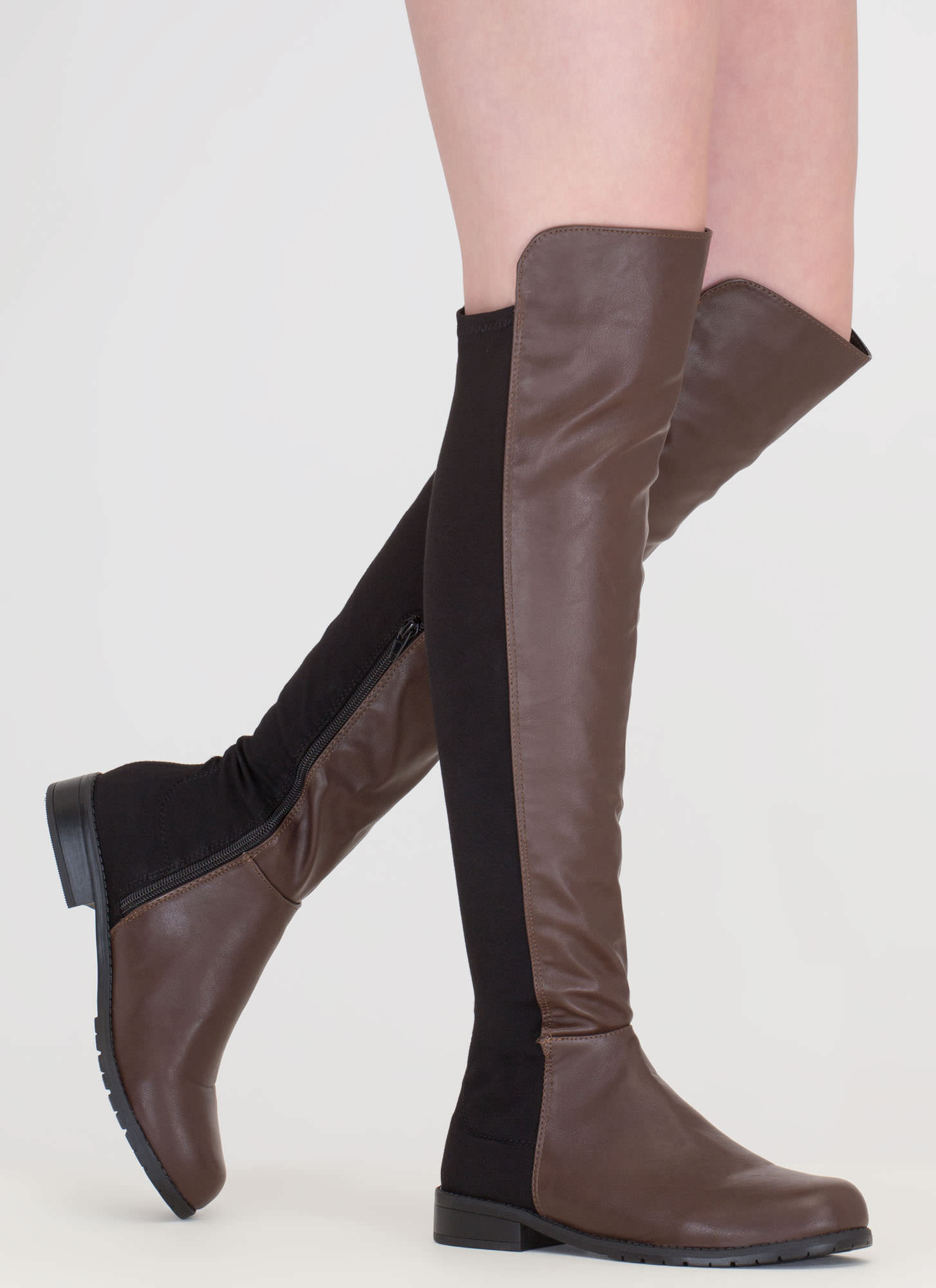 Score Slim Over-The-Knee Boots BROWN