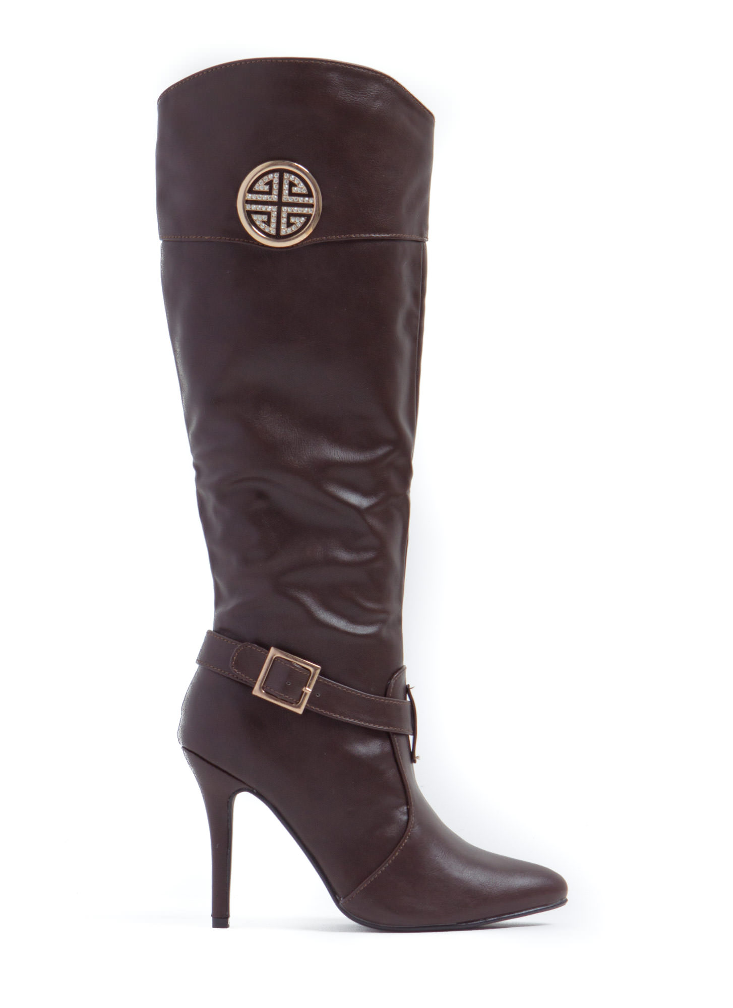 Brown Faux Leather Faux Leather Boots Brown