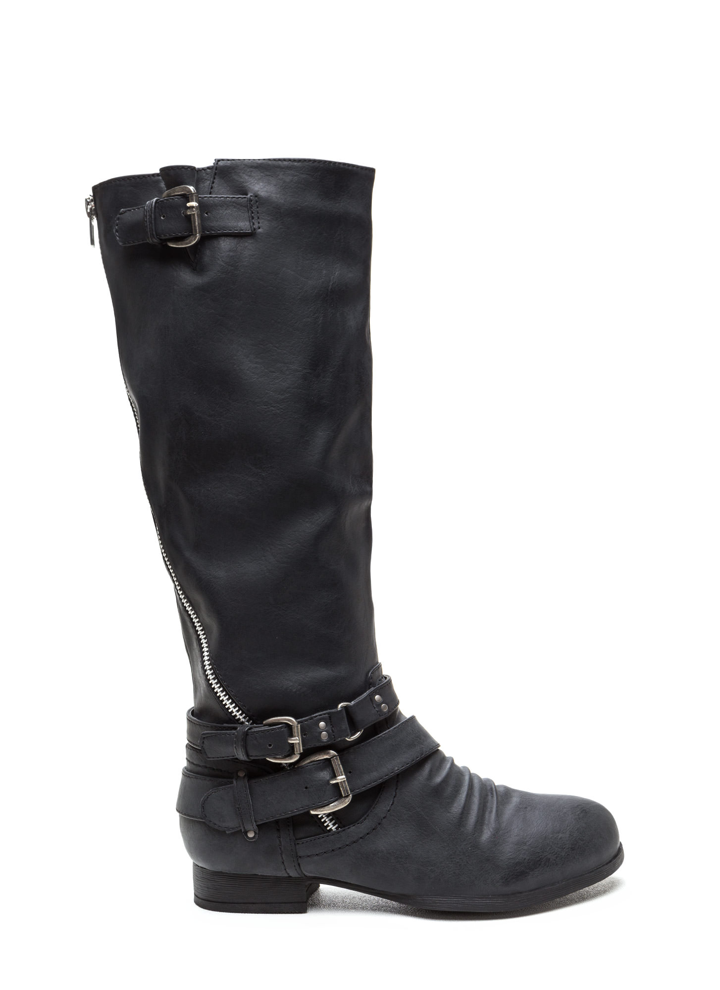 Hop On Faux Leather Moto Boots BLACK
