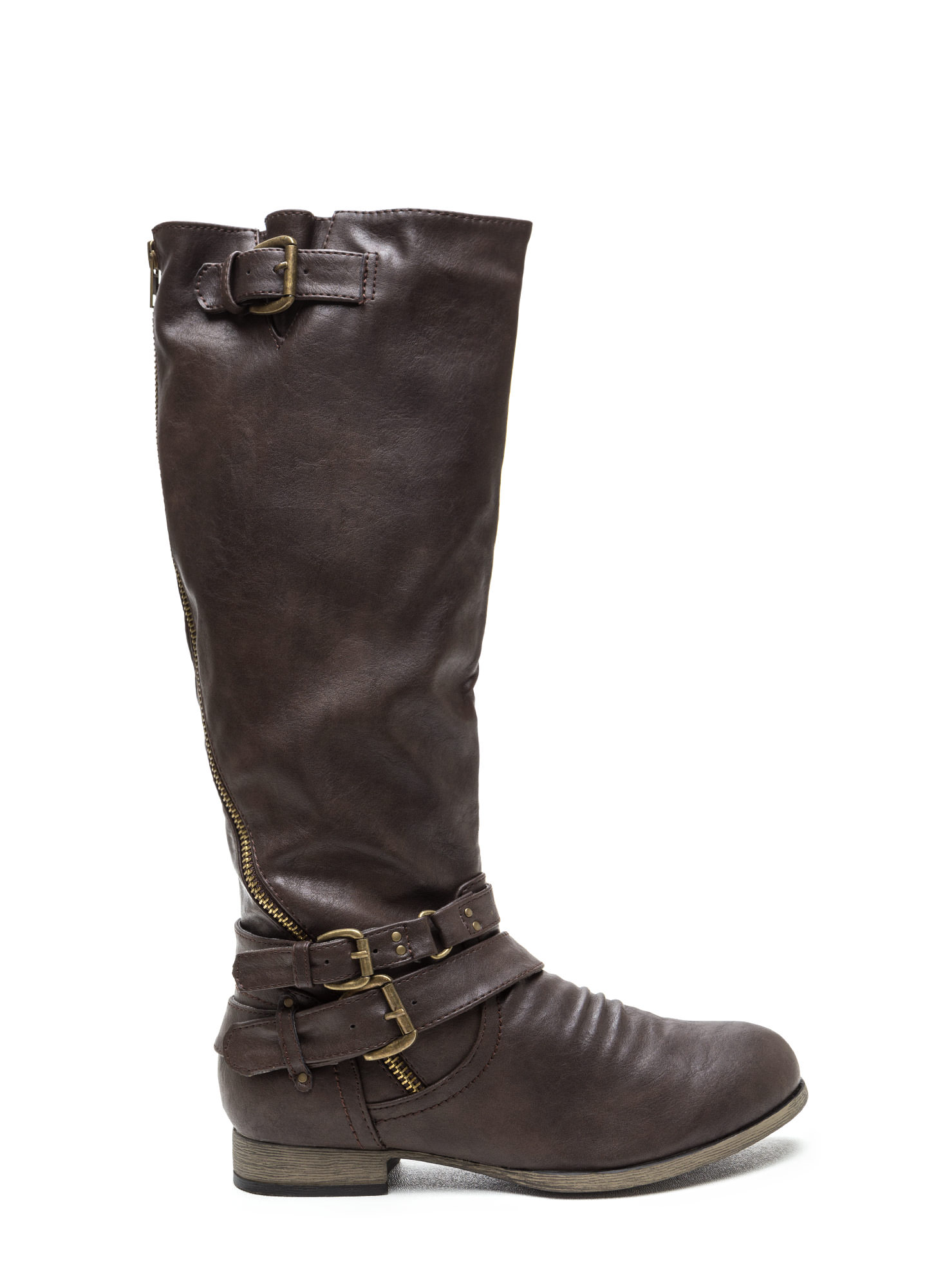 Hop On Faux Leather Moto Boots BROWN (Final Sale)