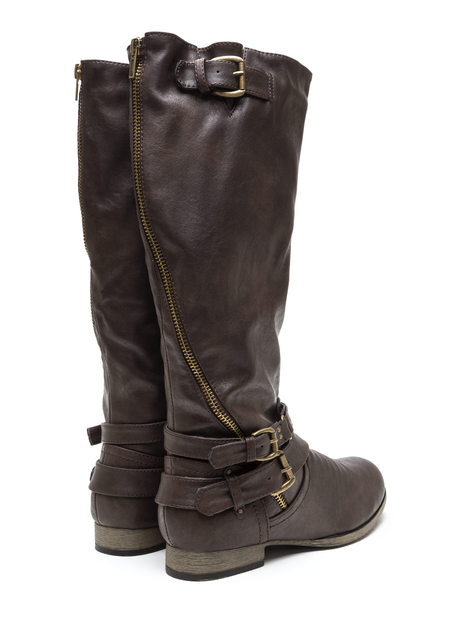 Hop On Faux Leather Moto Boots BROWN