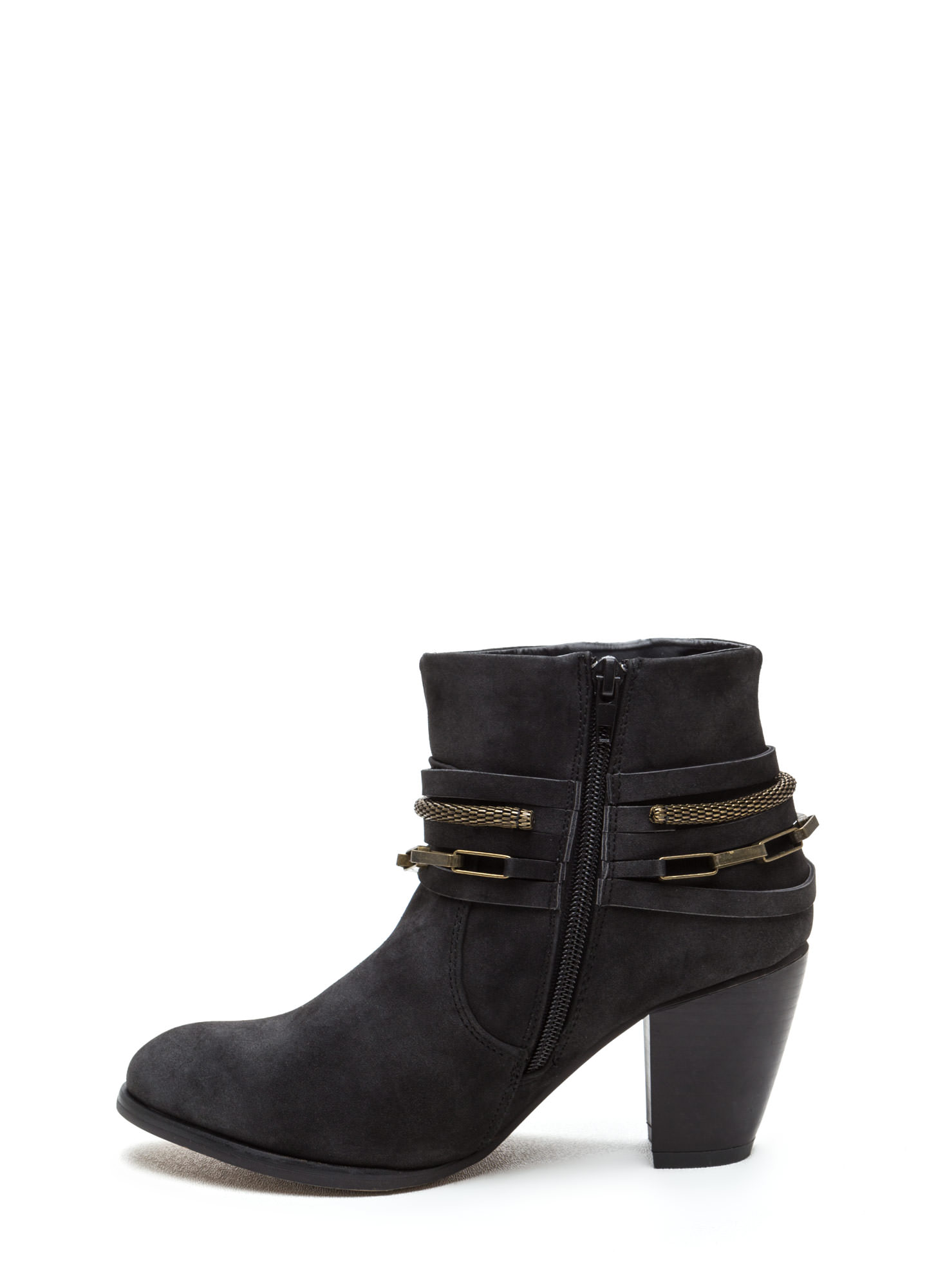 Mixed Chains Faux Leather Booties BLACK