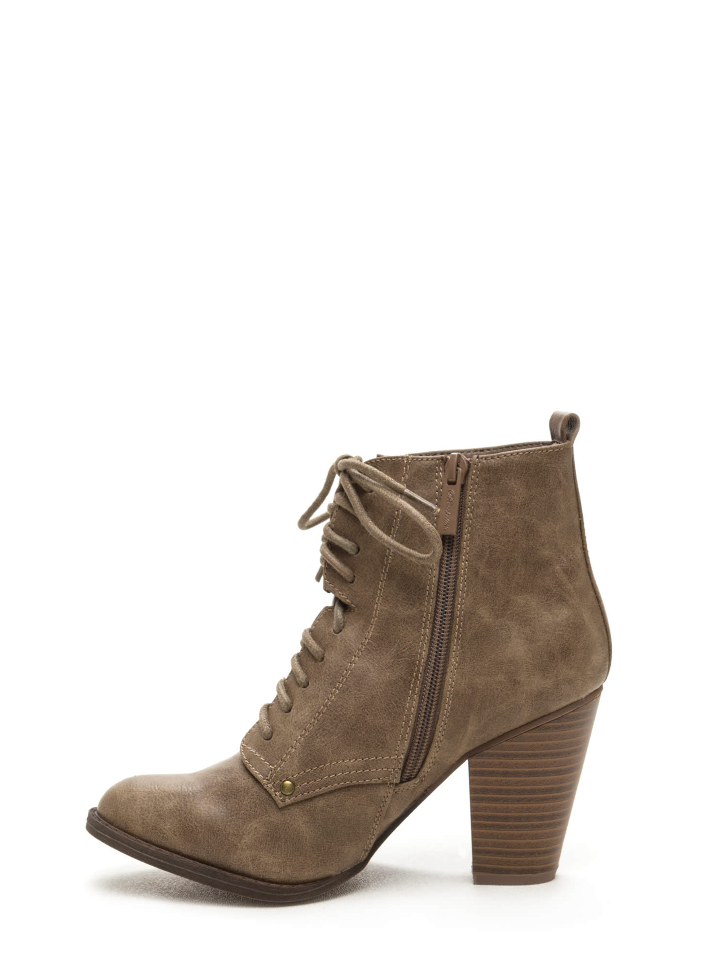 Complete Me Faux Leather Booties BEIGE