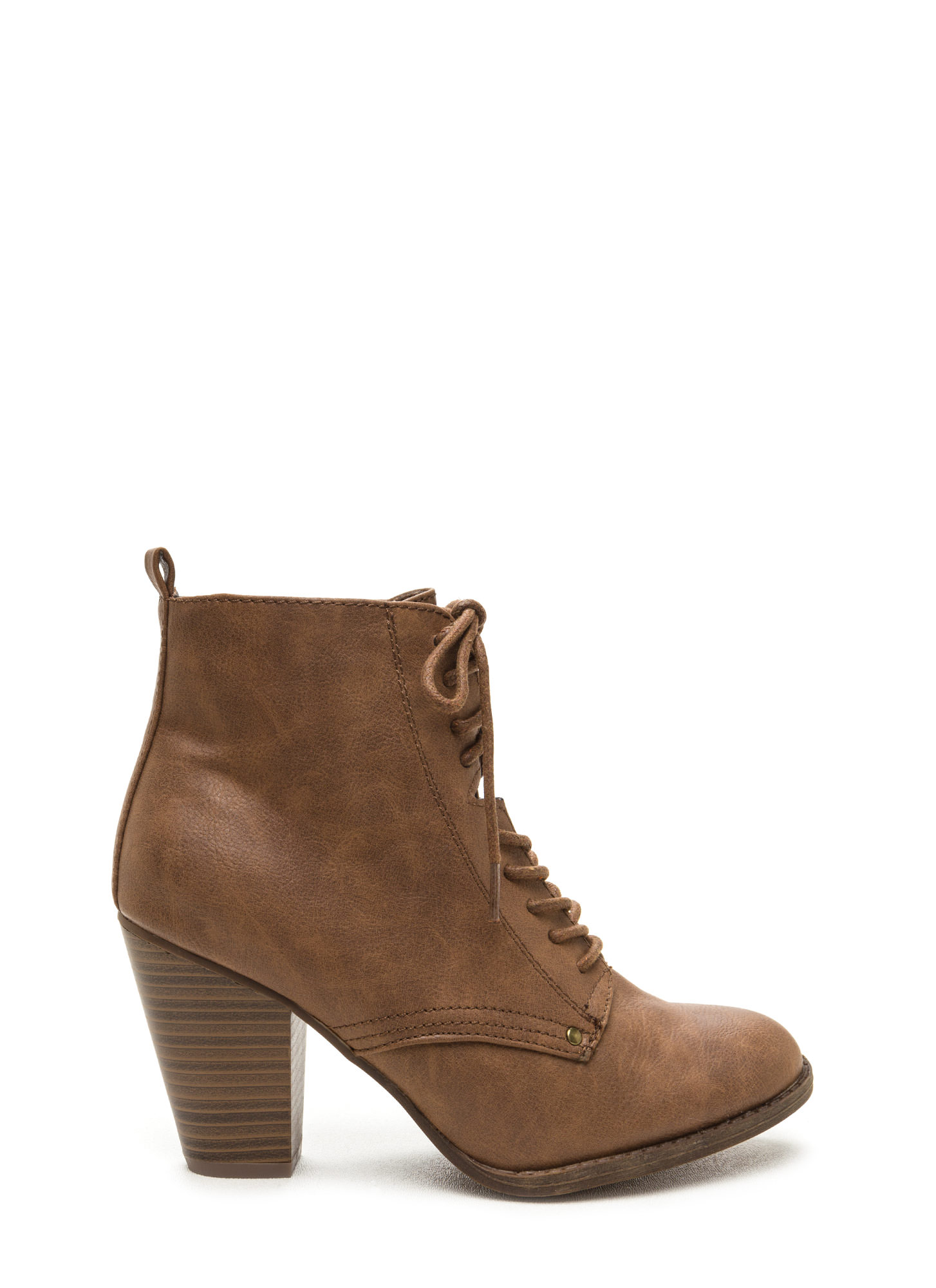 Complete Me Faux Leather Booties TAN