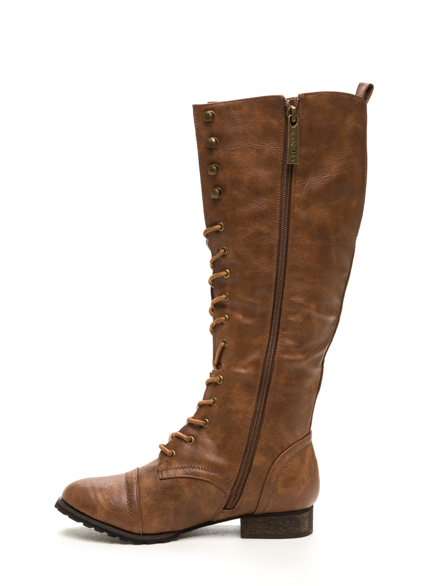 Lace-Up 2 It Faux Leather Boots TAN