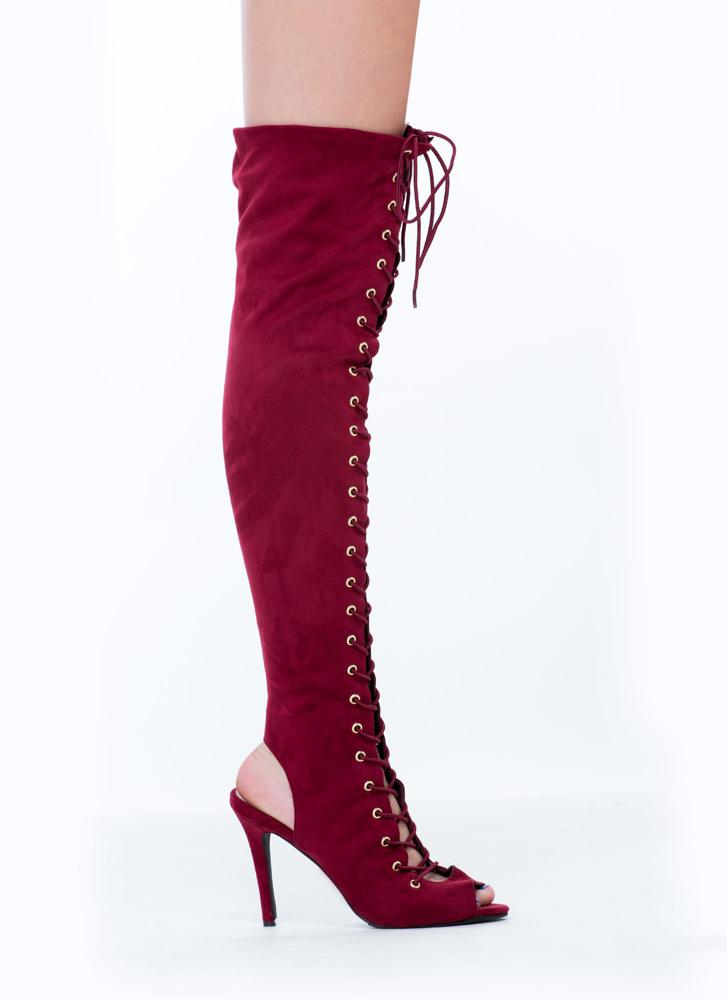 Lace-Up 4 Anything Stiletto Boots BERRY