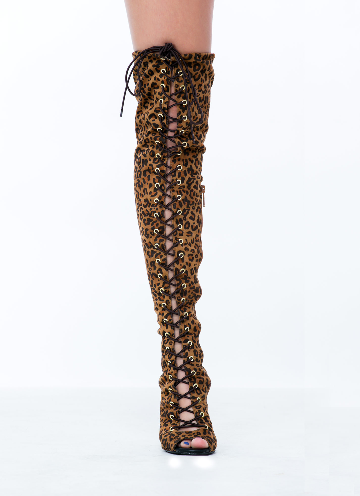 Lace-Up 4 Anything Stiletto Boots LEOPARD (Final Sale)