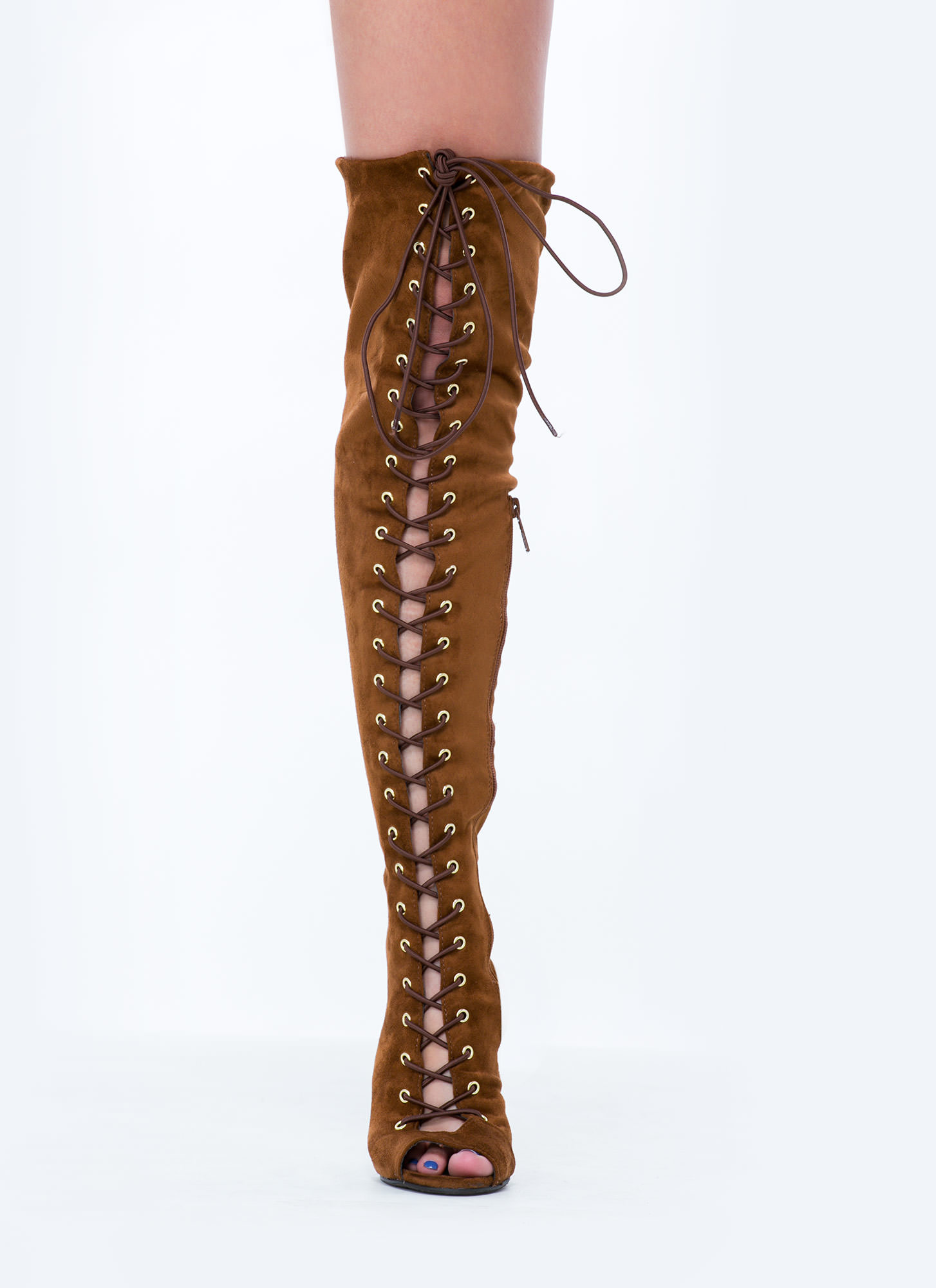 Lace-Up 4 Anything Stiletto Boots TAN