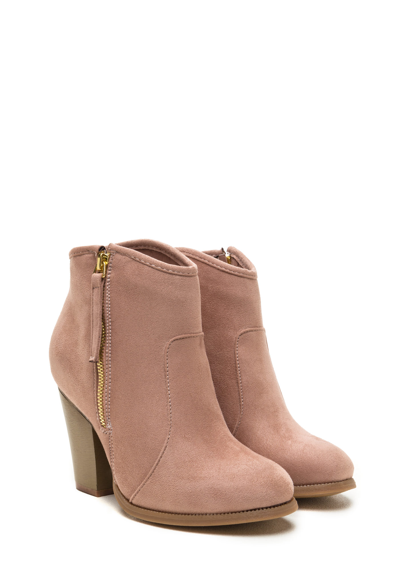 Zipped To The Top Chunky Booties MAUVE