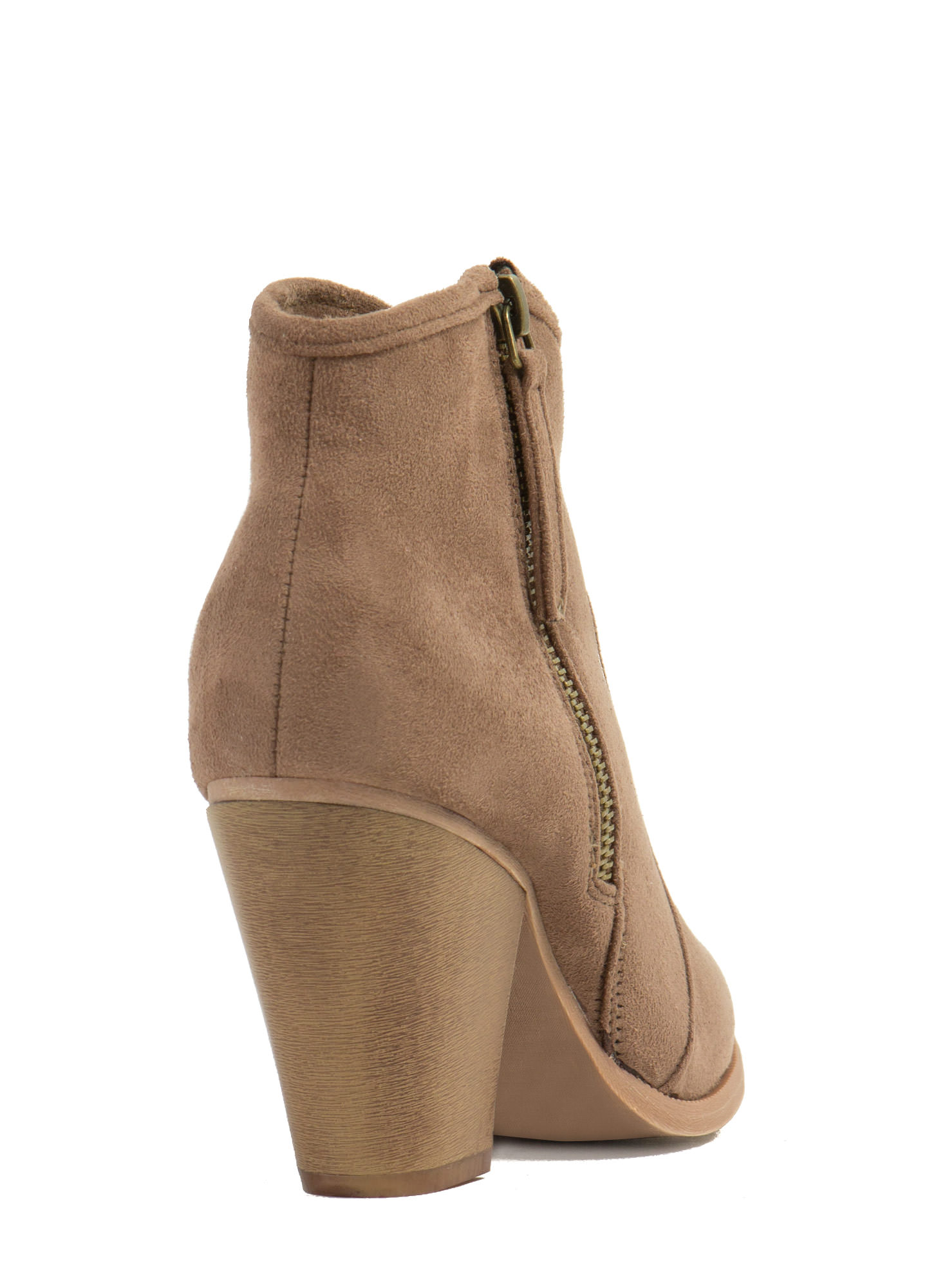 Zipped To The Top Chunky Booties TAUPE