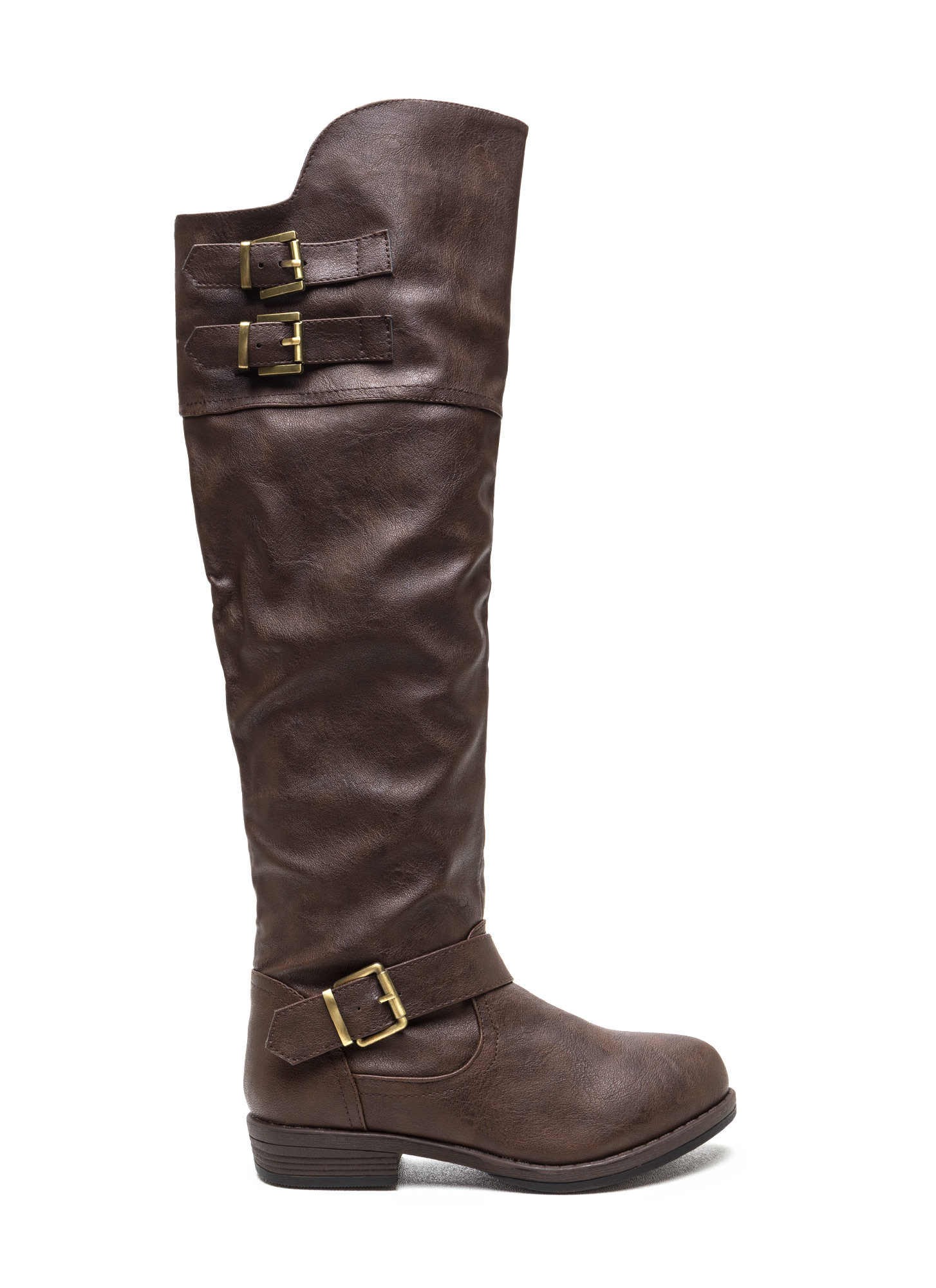 Brown Faux Leather Leather Boots Brown Buckle