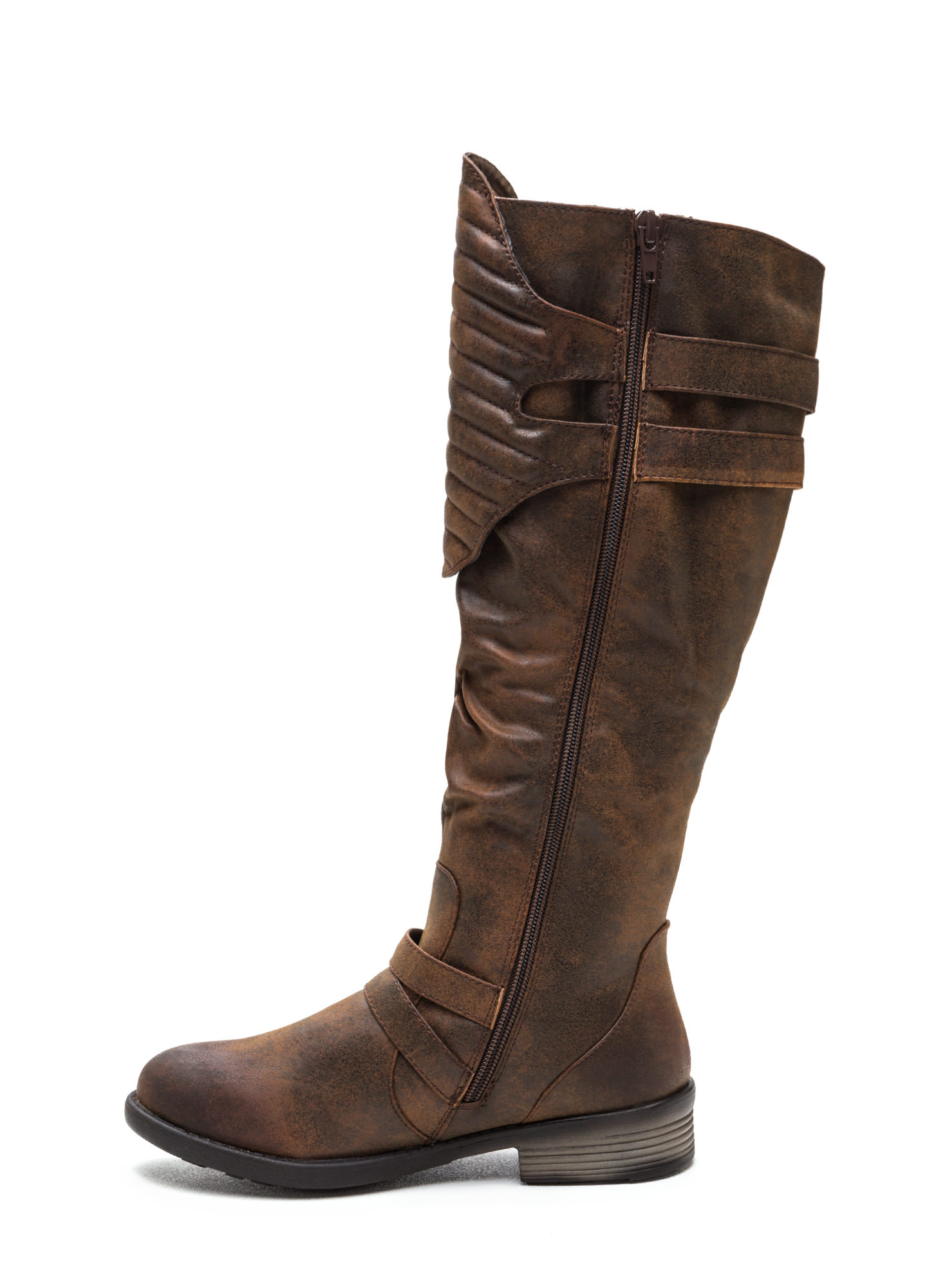 Gimme A Moment Faux Nubuck Boots DKBROWN