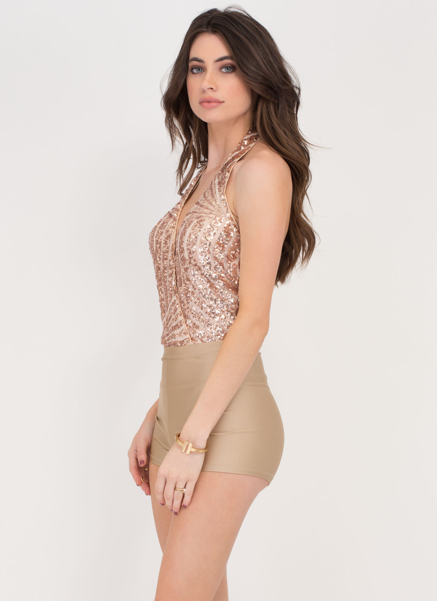 Roller Gal High-Waisted Shorts DKBEIGE