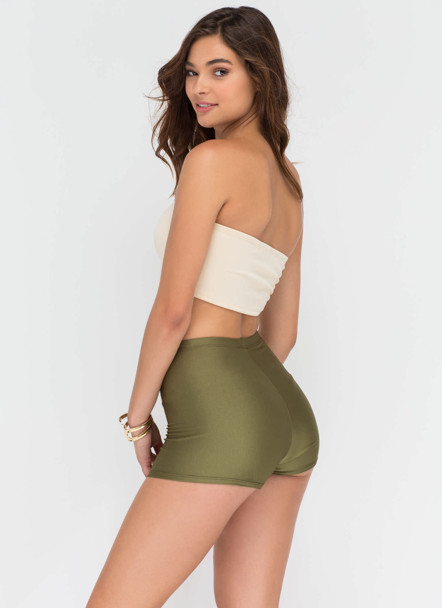 Roller Gal High-Waisted Shorts OLIVE
