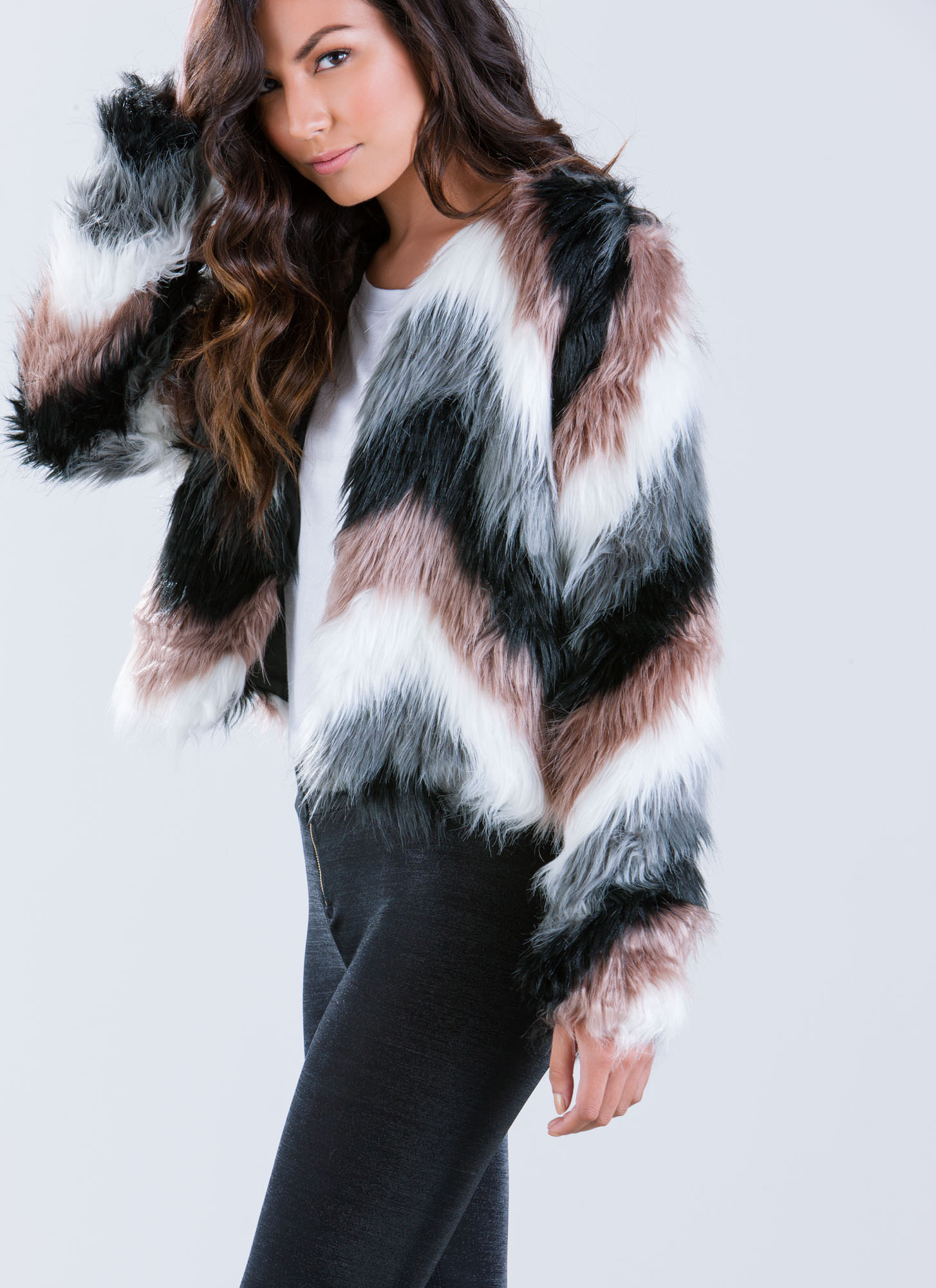 Multi color faux fur