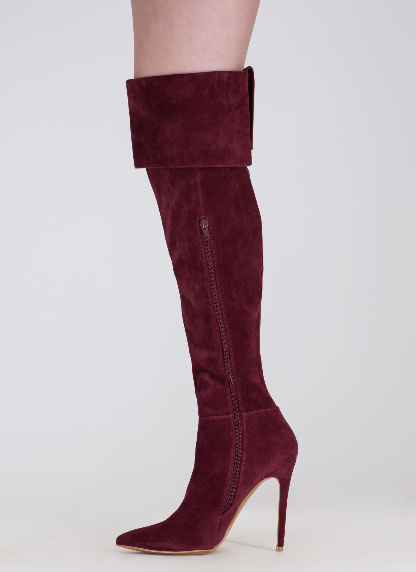Luxe Faux Suede Over-The-Knee Boots BURGUNDY