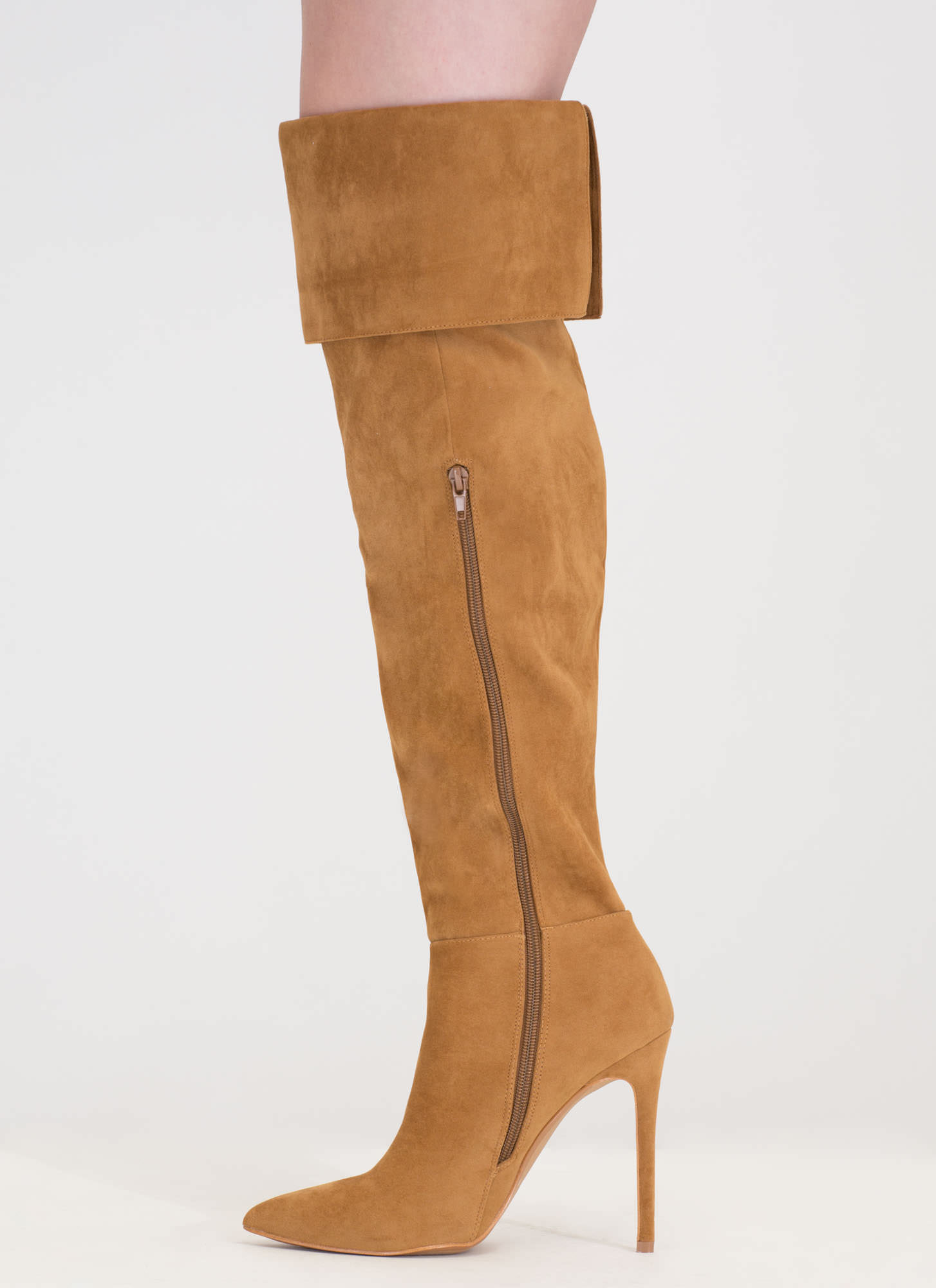 Luxe Faux Suede Over-The-Knee Boots CHESTNUT