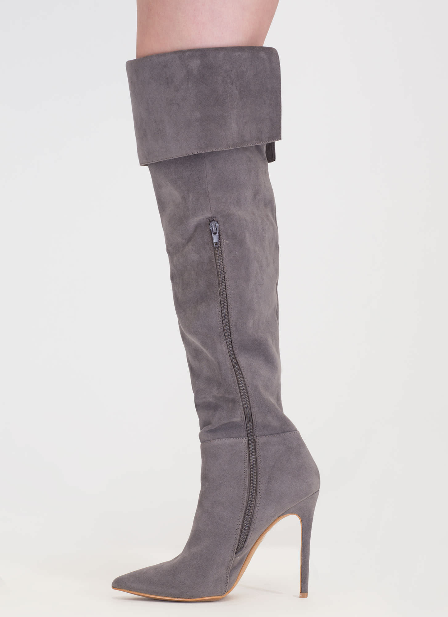 Luxe Faux Suede Over-The-Knee Boots GREY