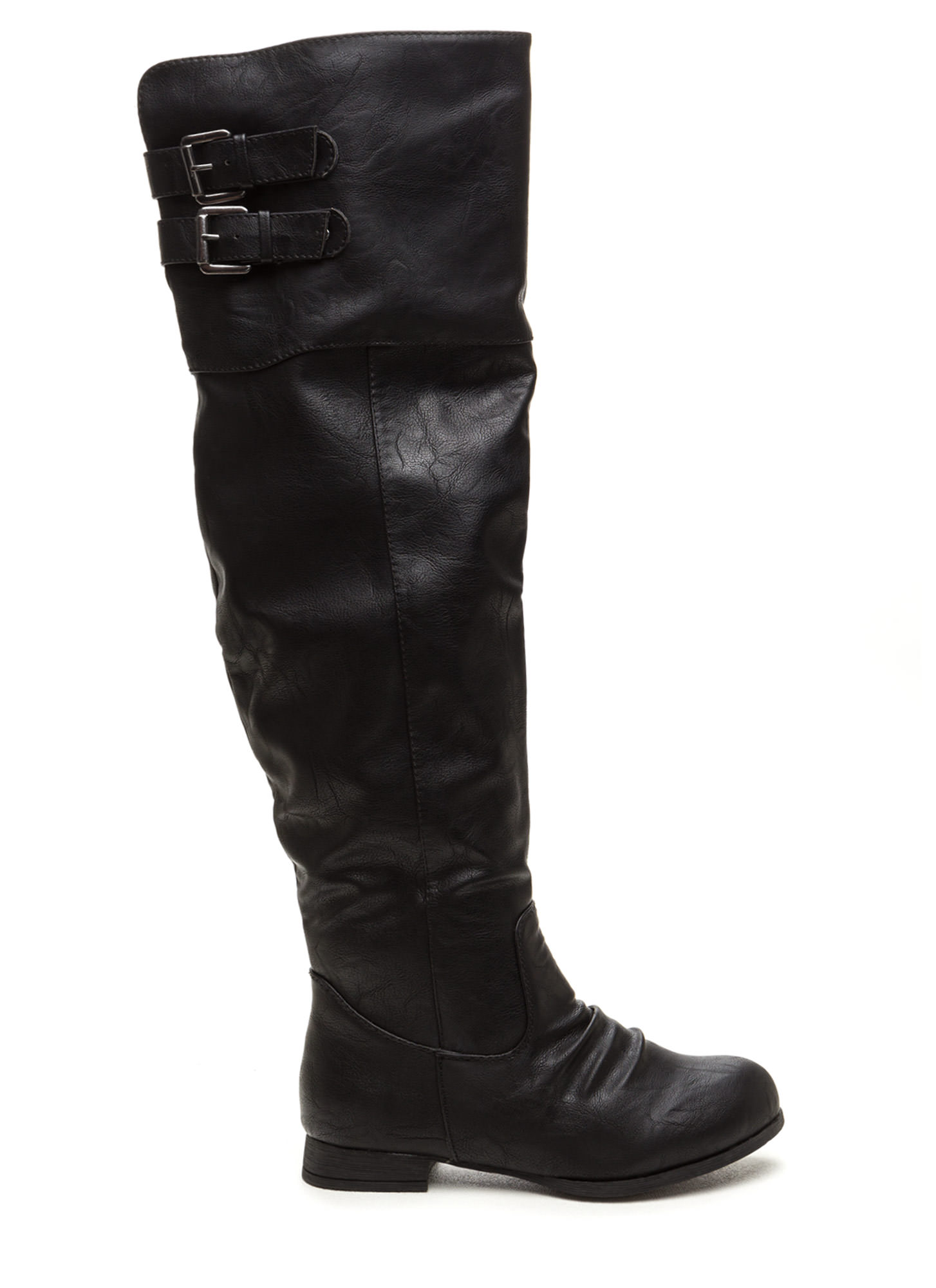 Double Exposure Faux Leather Boots BLACK