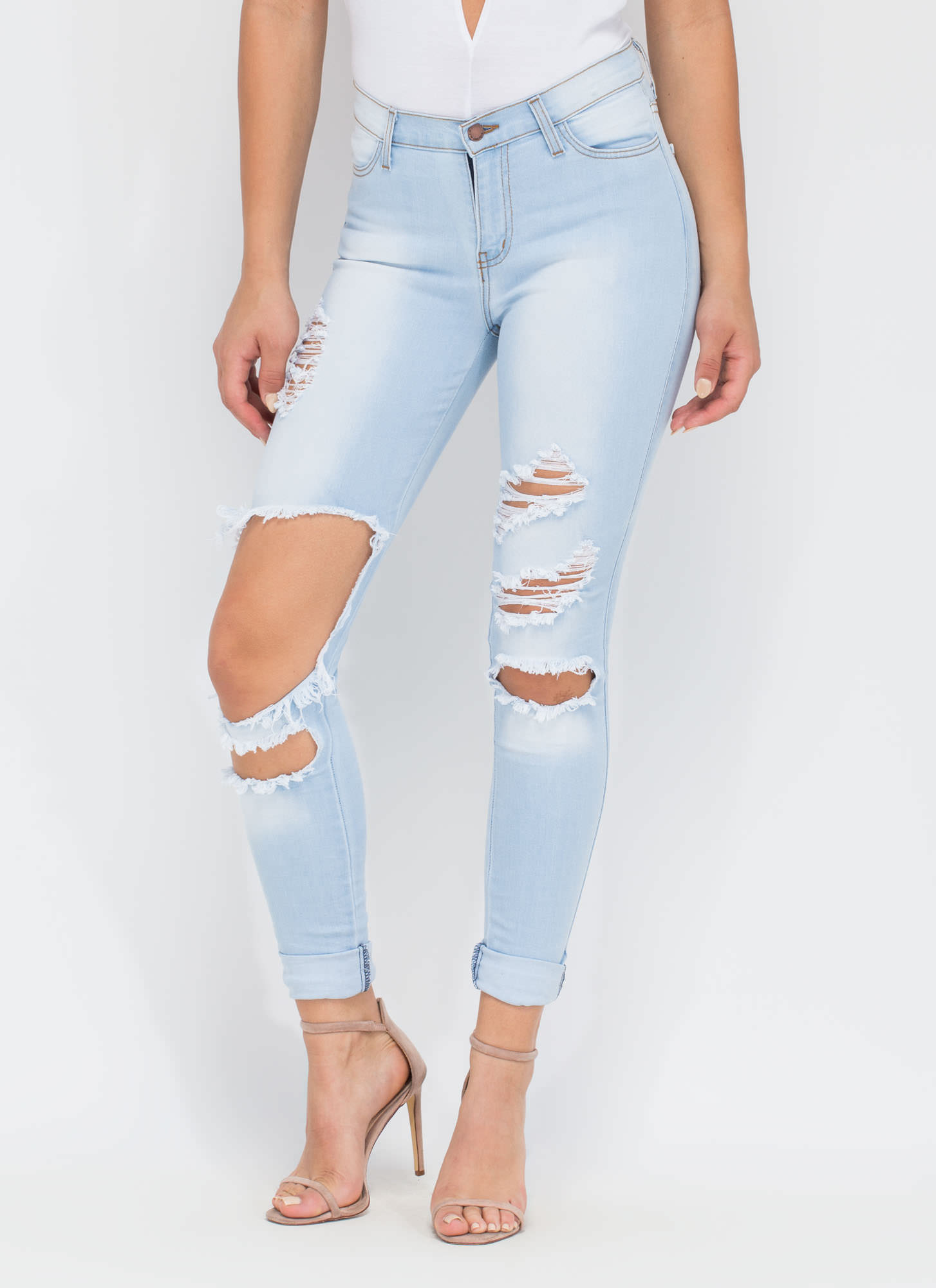 Deconstructed Stone Washed Jeans LTBLUE