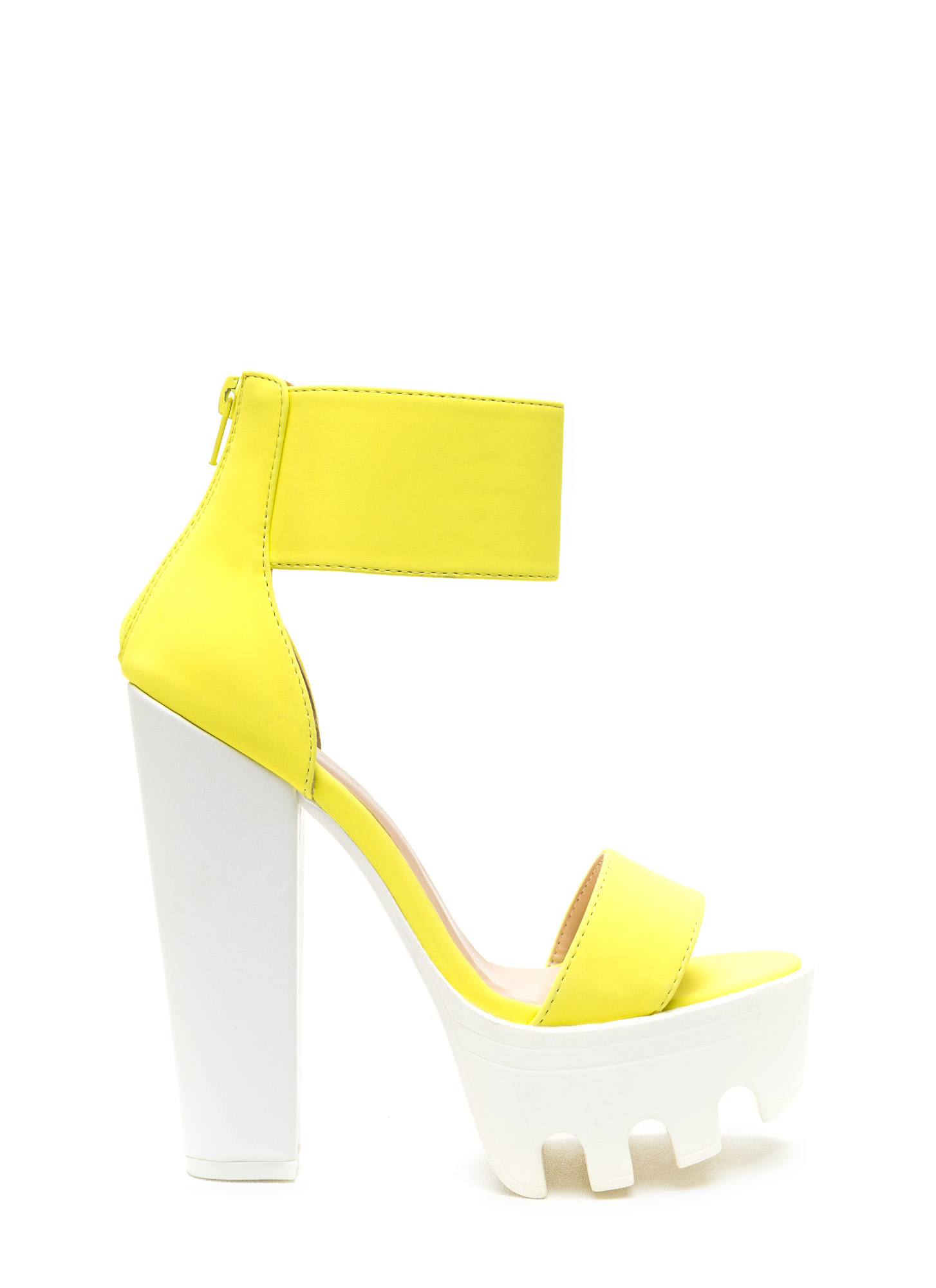 Neon Yellow And Black Heels