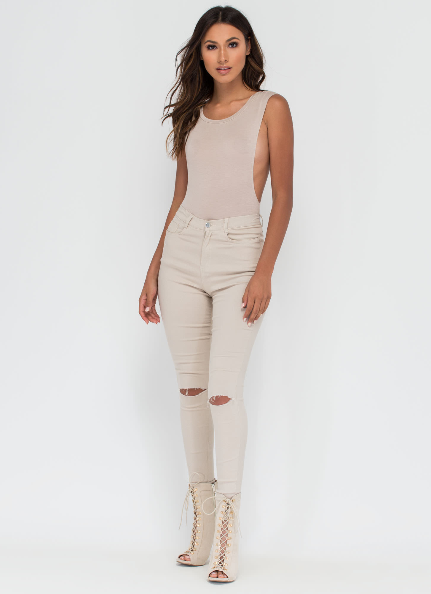 Don't Mess Muscle Body Suit TAUPE